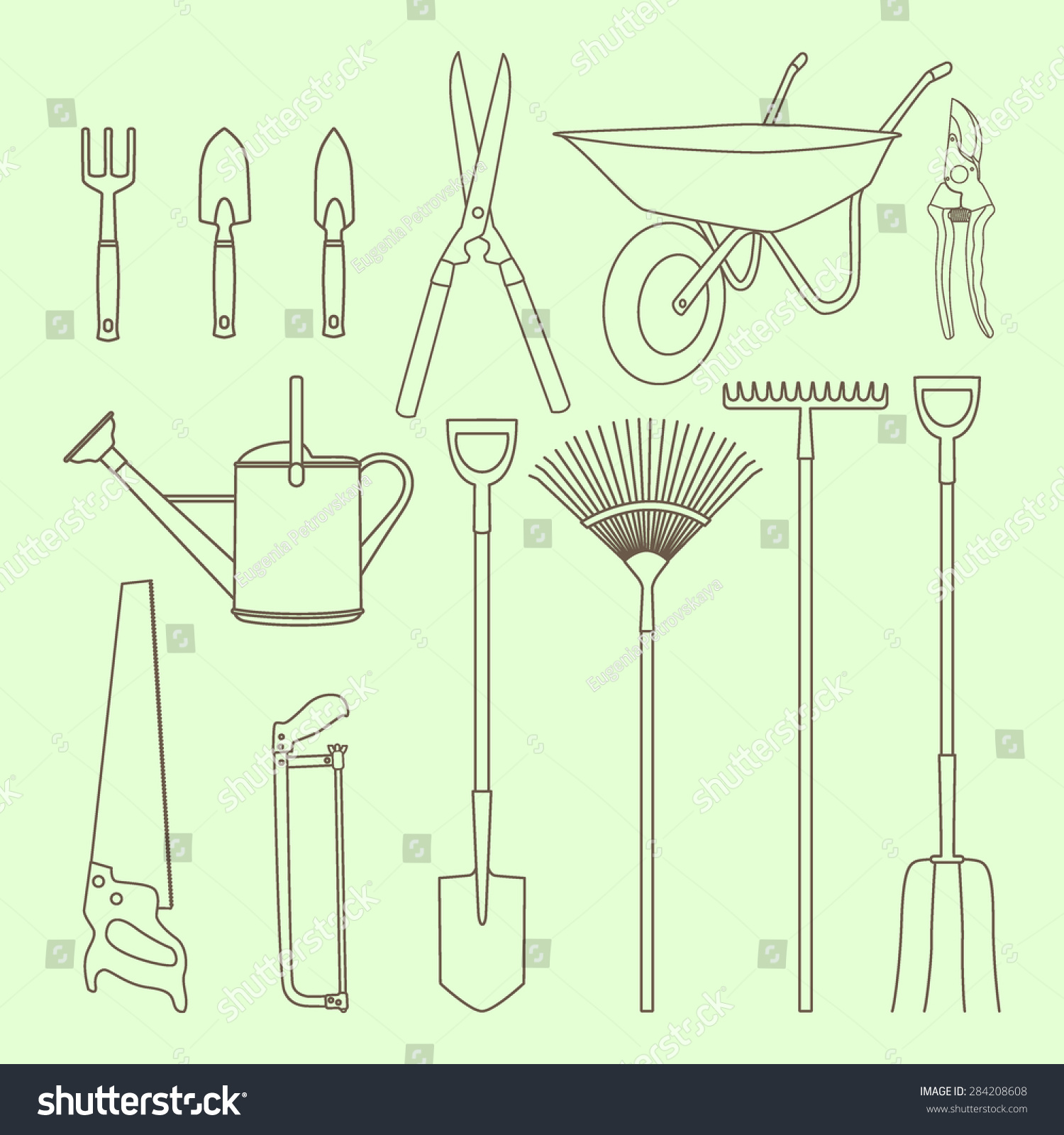 Vector Graphic Set Common Garden Hand Stock Vector Royalty Free