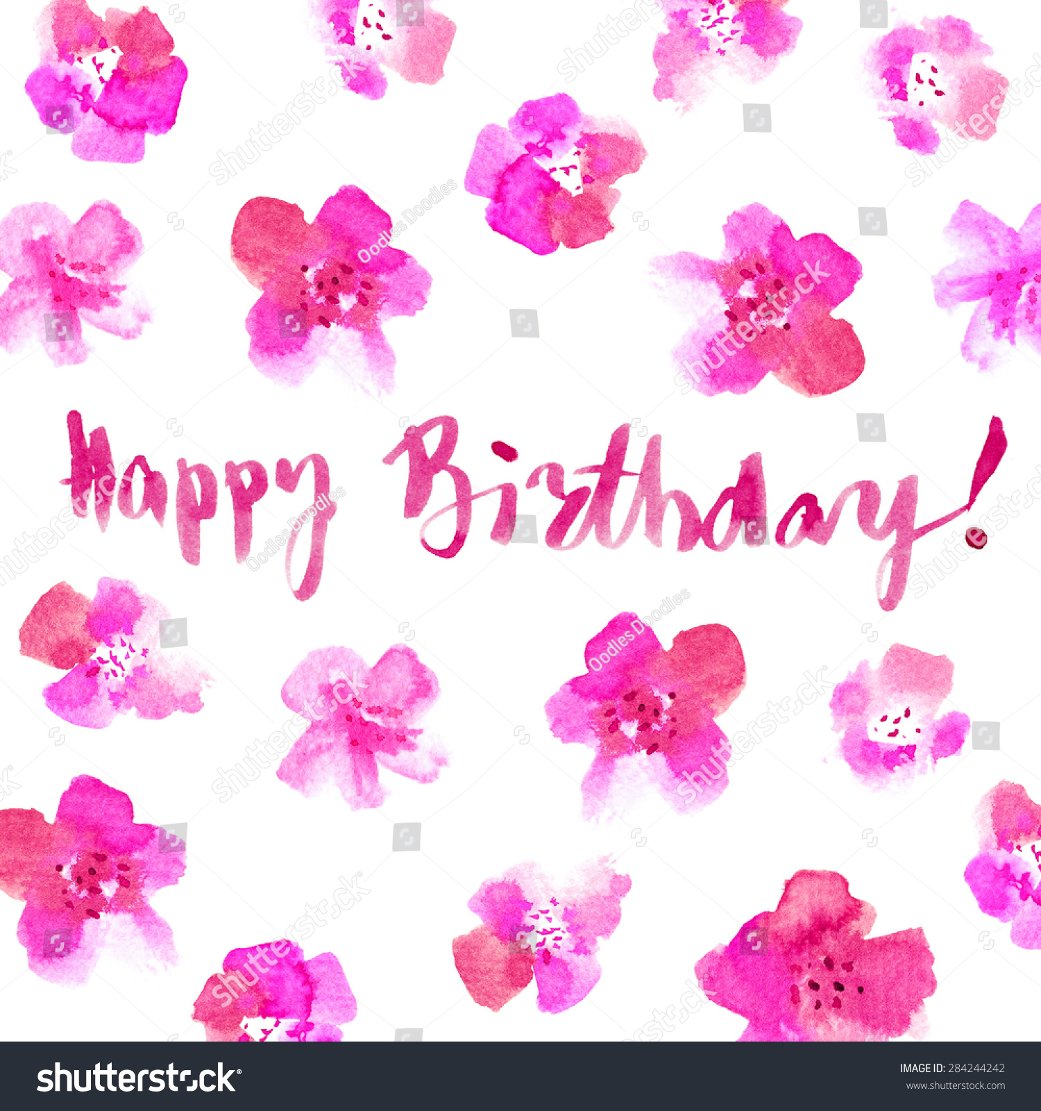 Floral Happy Birthday Card Hand Painted Stock Illustration