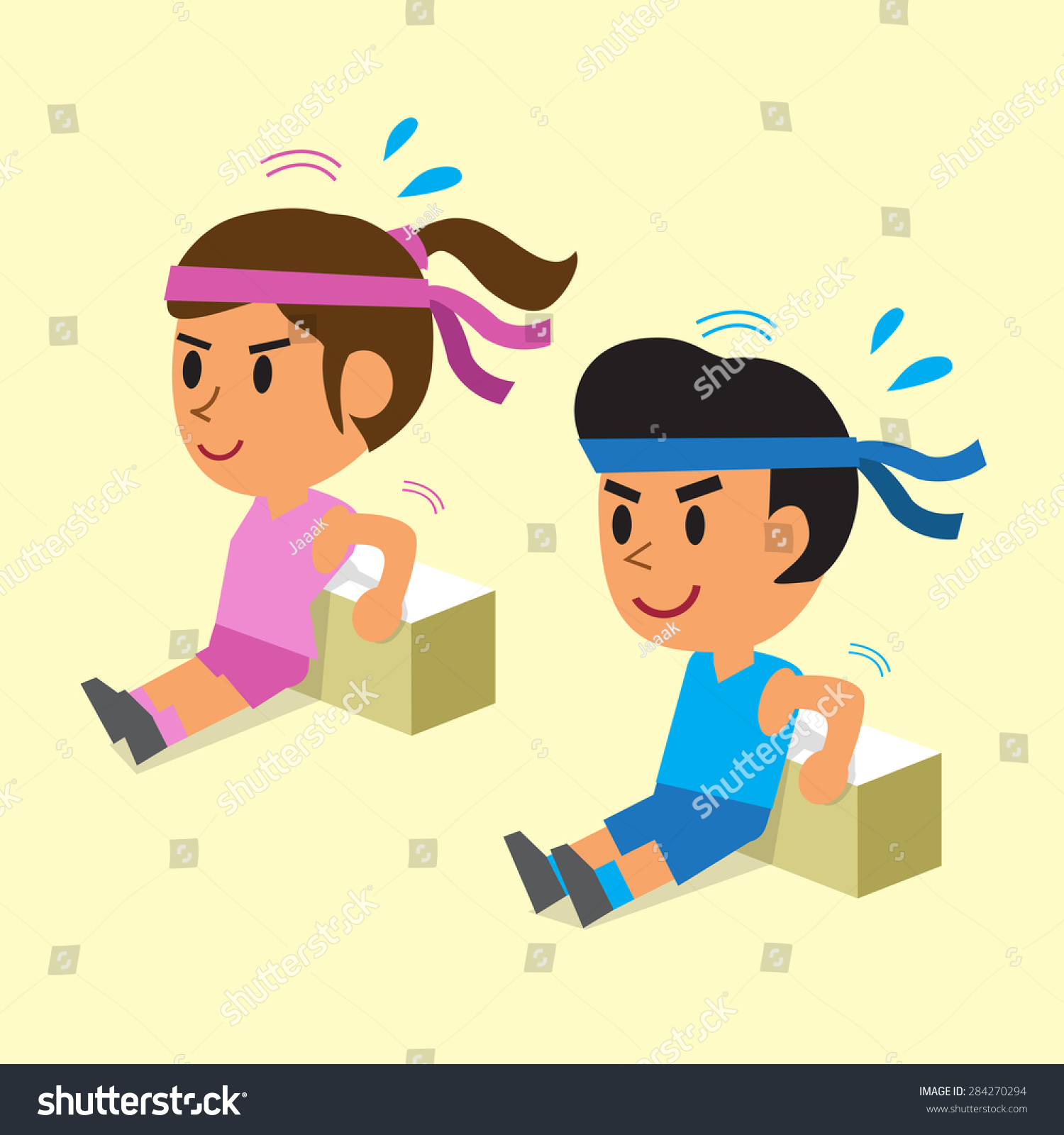 Bench Dips Workout Part - 36: Cartoon A Man And A Woman Doing The Triceps Bench Dips Workout