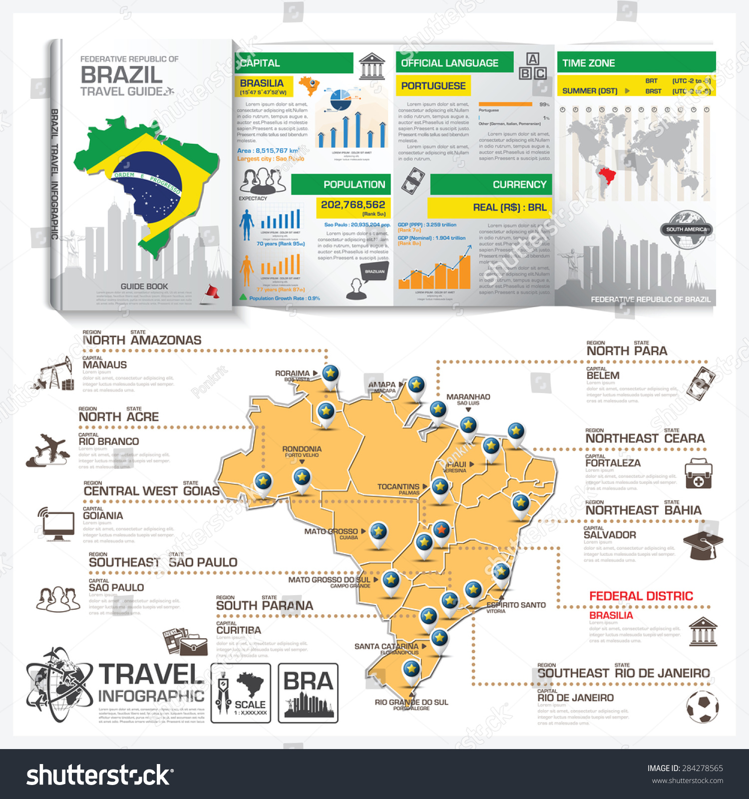 republic brazil travel guide book business stock vector royalty