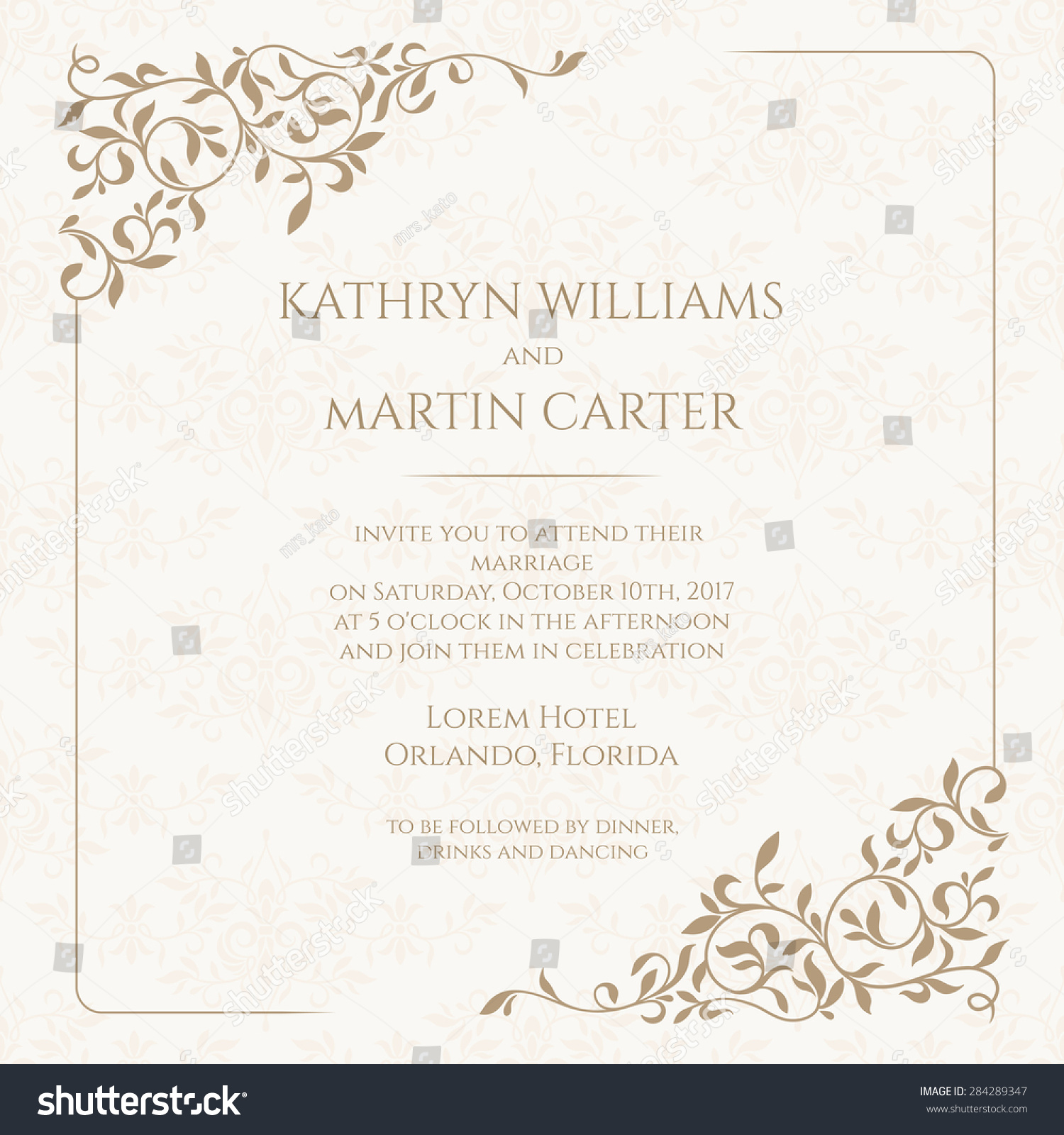 Invitation Card Floral Seamless Pattern Wedding Stock Vector