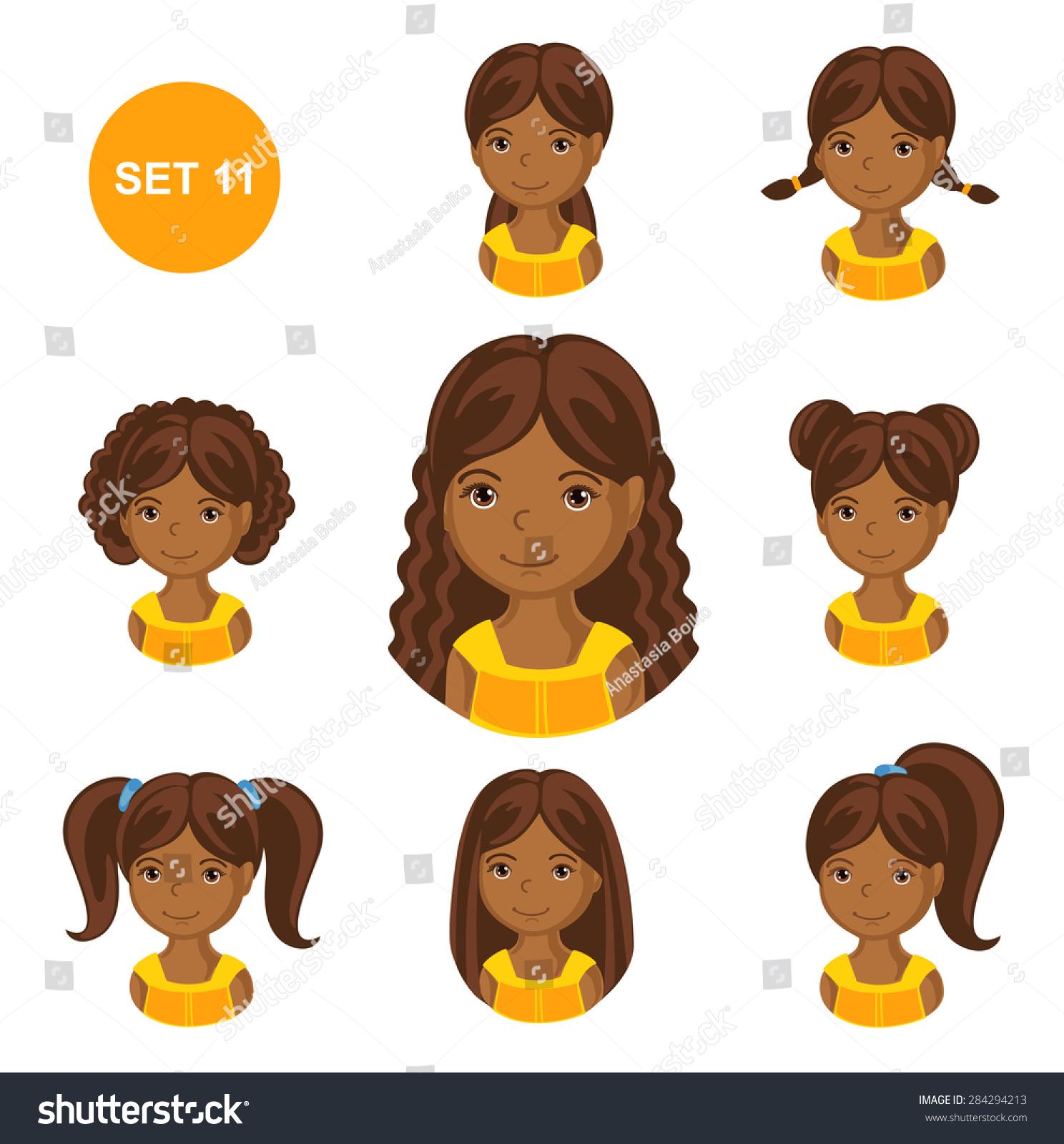 Cute Illustrations Little Girls Various Hair Stock Vector ...