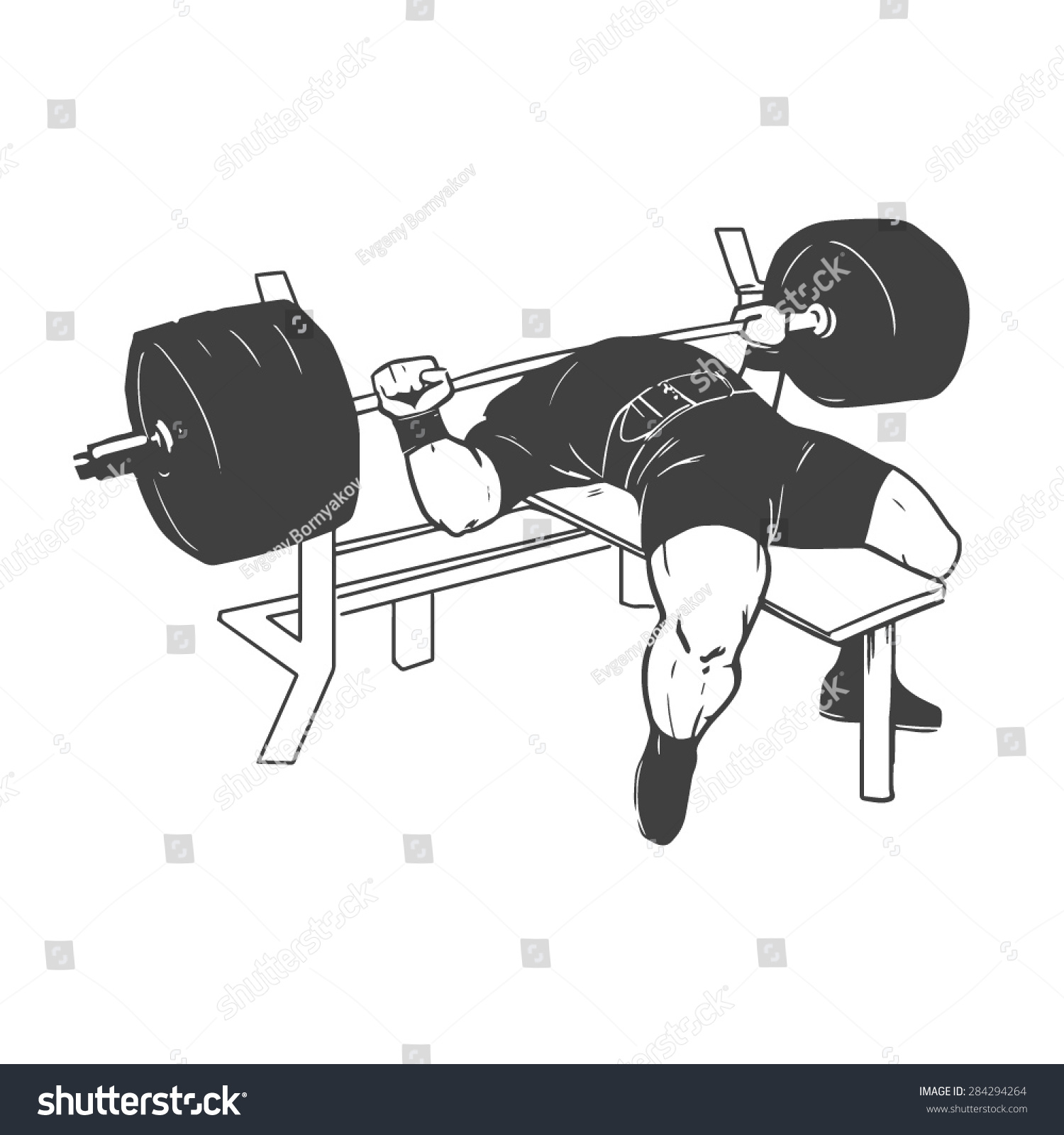 Bench Press Person: Powerlifting Bench Press Figure On Isolated Stock Vector