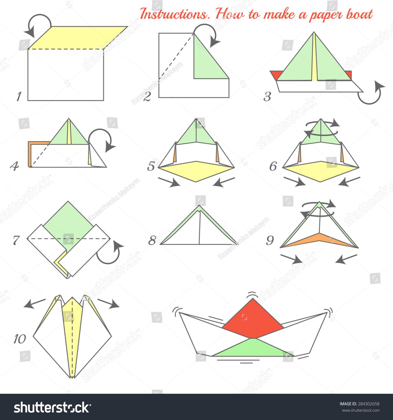 instructions how make paper ship paper stock vector 284302658 shutterstock. Black Bedroom Furniture Sets. Home Design Ideas