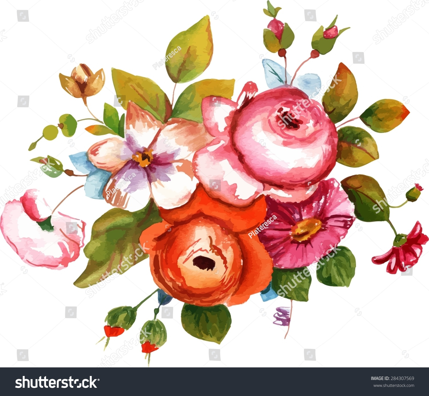 Vintage Style Watercolour Drawing Bouquet Flowers Stock Photo (Photo ...