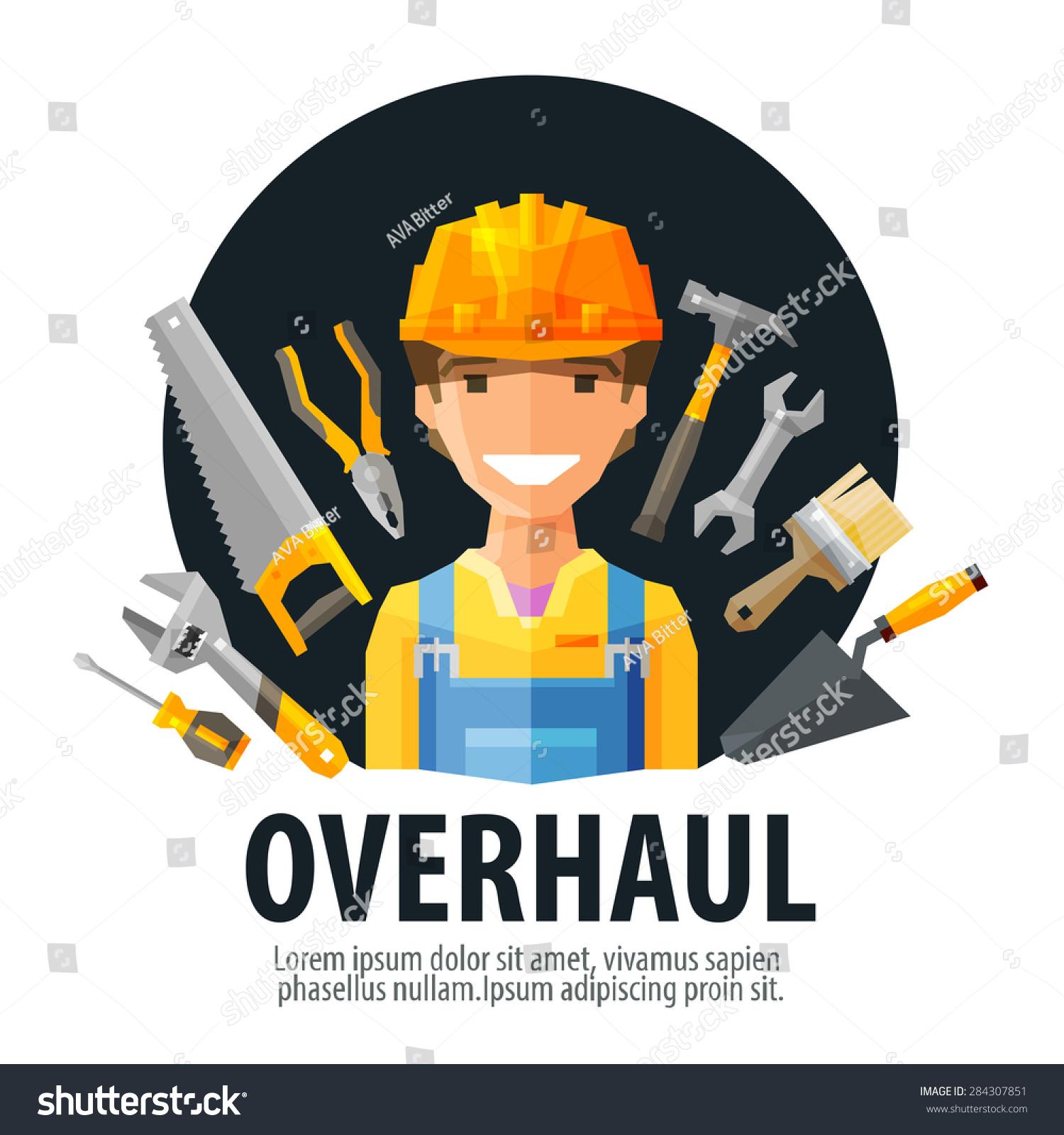 Overhaul vector logo design template worker stock vector for Builder contractors