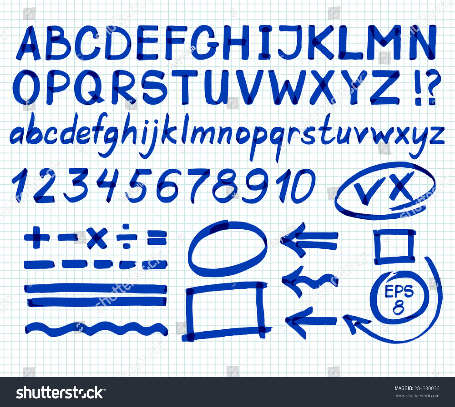 Letters numbers arrows mathematical symbols lines stock vector letters numbers arrows mathematical symbols lines written in blue marker biocorpaavc Choice Image