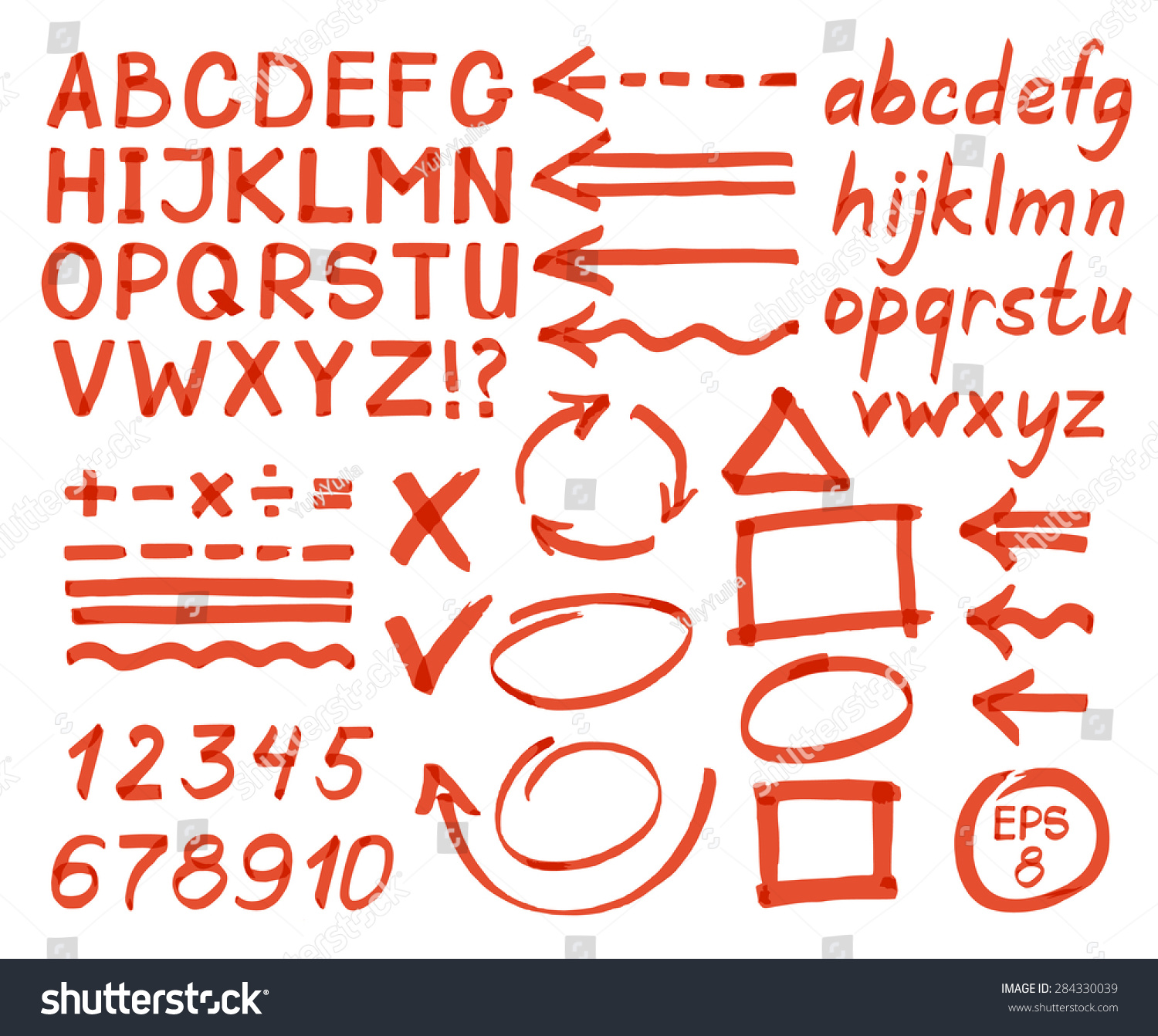 Letters Numbers Arrows Mathematical Symbols Lines Stock Vector