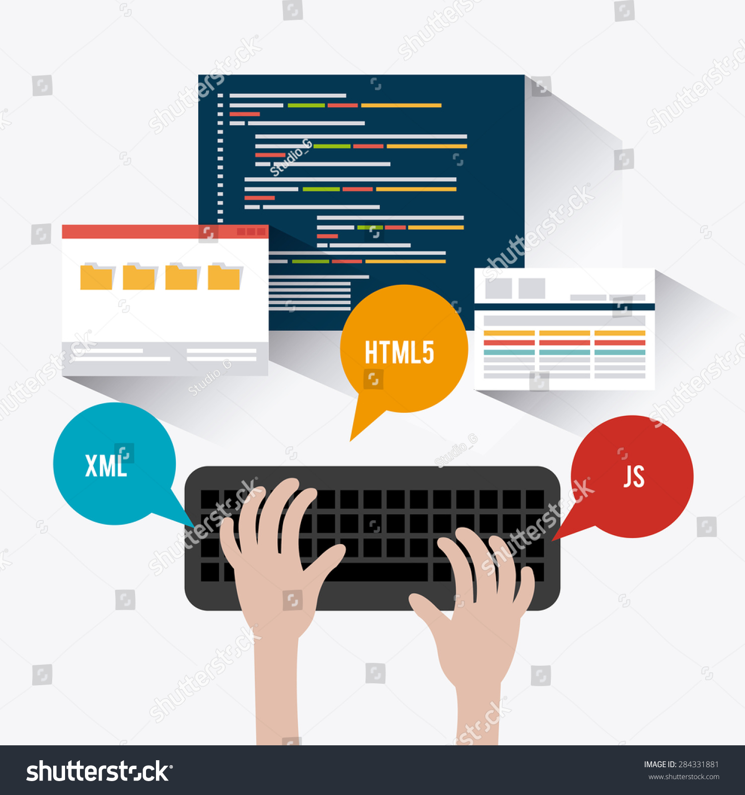 Software design over white background vector illustration Vector image software