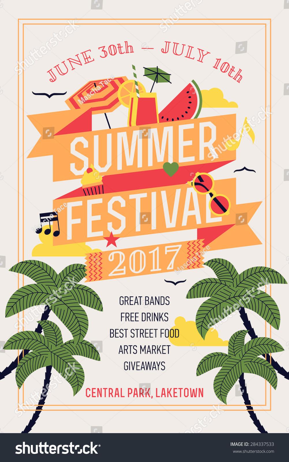 Beautiful Summer Festival Web Banner Printable Stock Vector ...