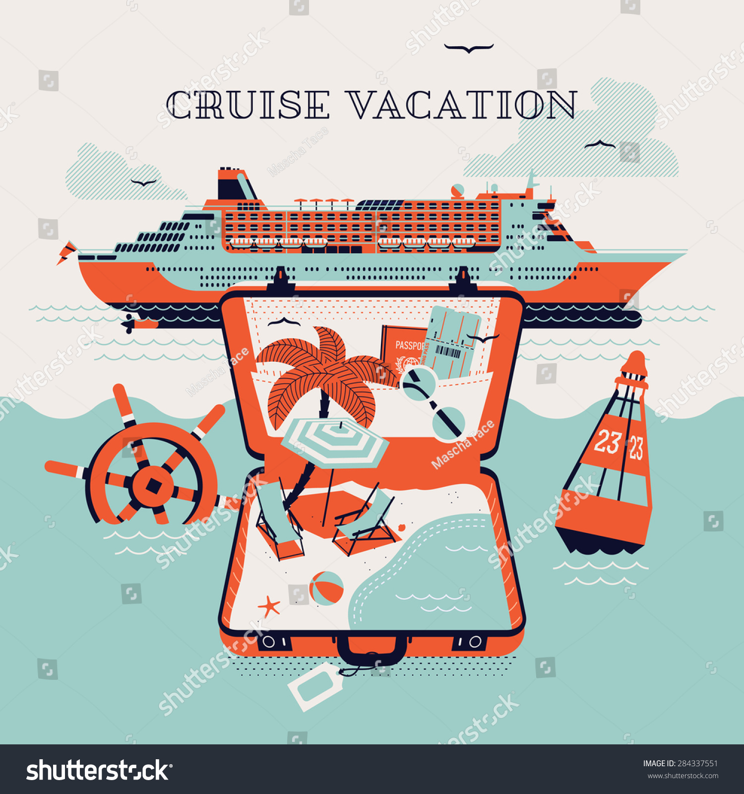 beautiful four colored cruise vacation printable stock vector 284337551 shutterstock. Black Bedroom Furniture Sets. Home Design Ideas