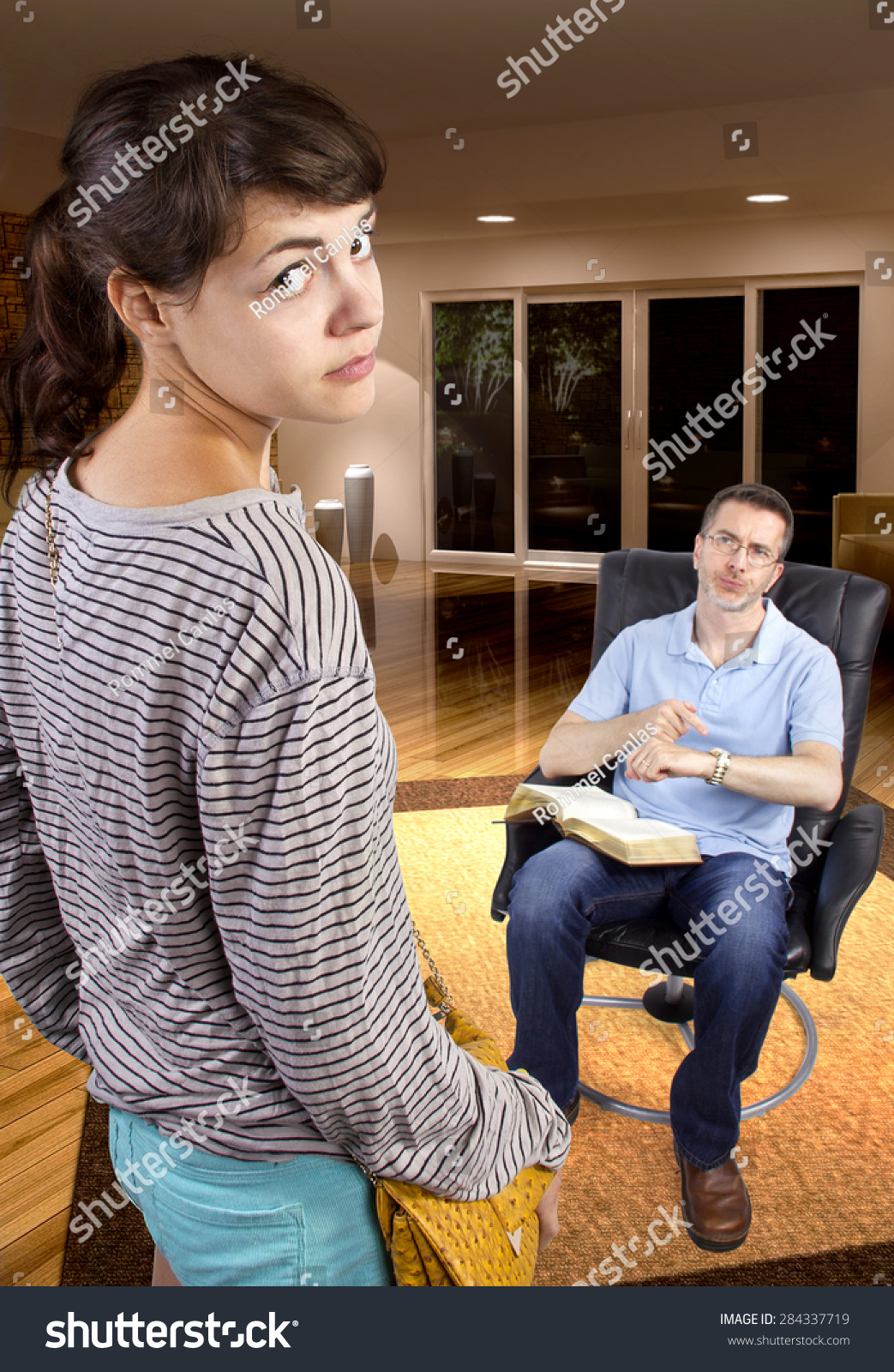 Single Father Waiting Daughter Come Home Stock Photo
