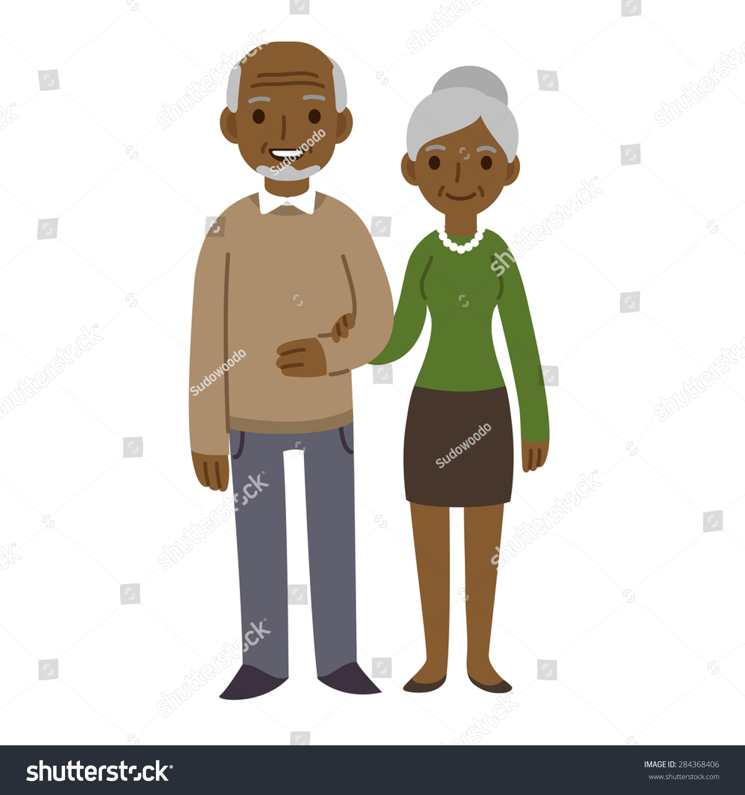 Stock illustrations senior citizen lady with a sign stock clipart - Cute Cartoon Black Senior Couple Isolated On White