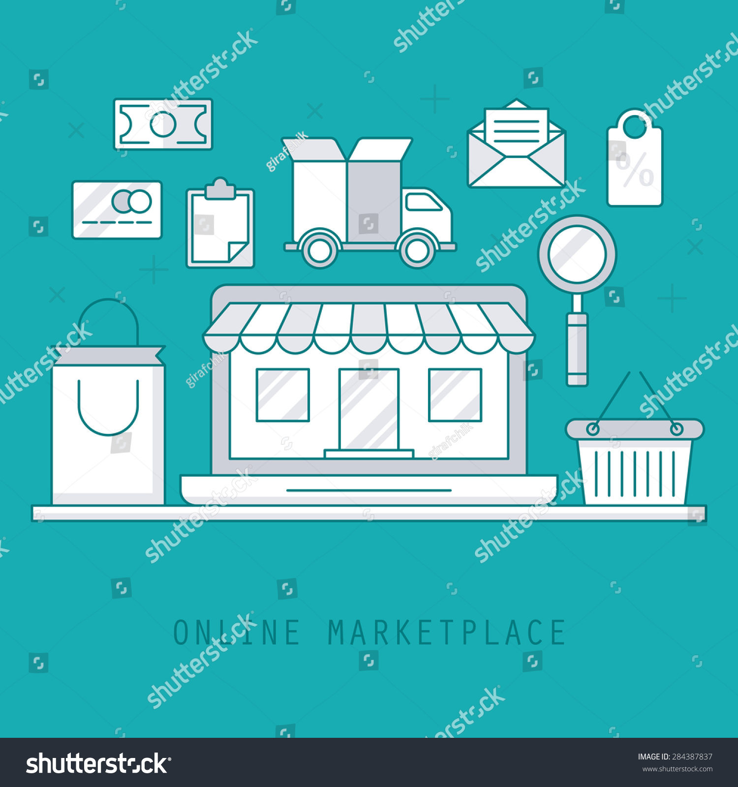 Thin Line Style Design Online Marketplace Stock Vector 284387837 ...