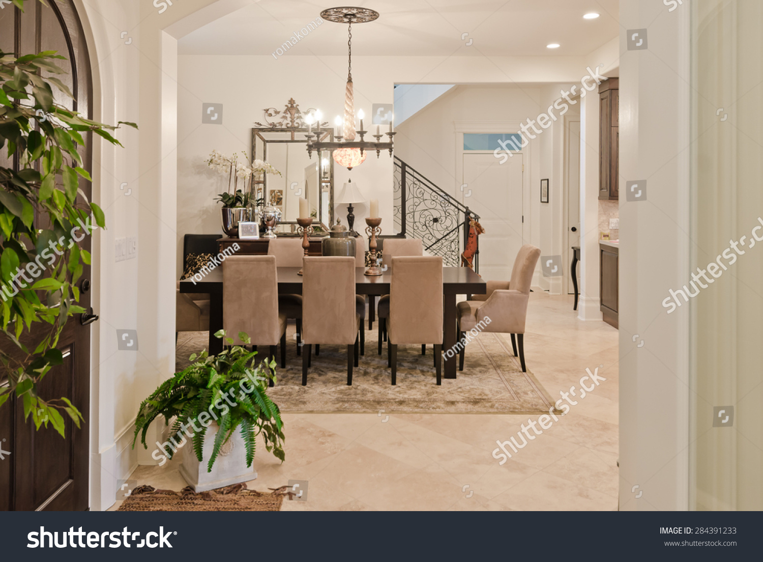 Modern entrance hall lobby stylish wooden stock photo for Dining room entrance