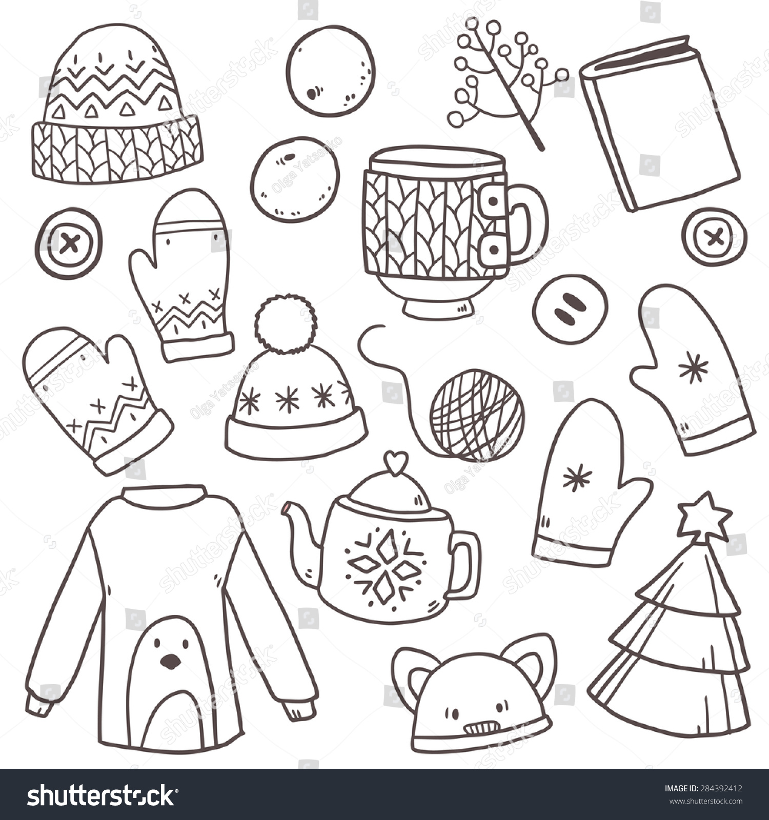 vector cute hand drawn set collection stock vector 284392412