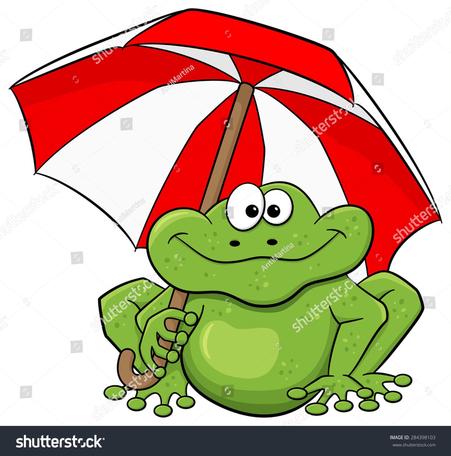 vector illustration cartoon frog umbrella stock vector 284398103