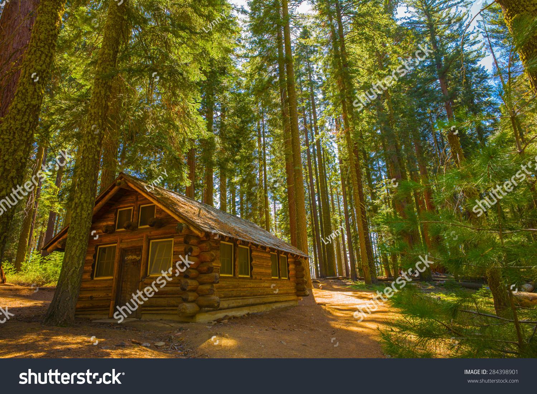 Cabin woods yosemite national park california stock photo for Cabins in yosemite