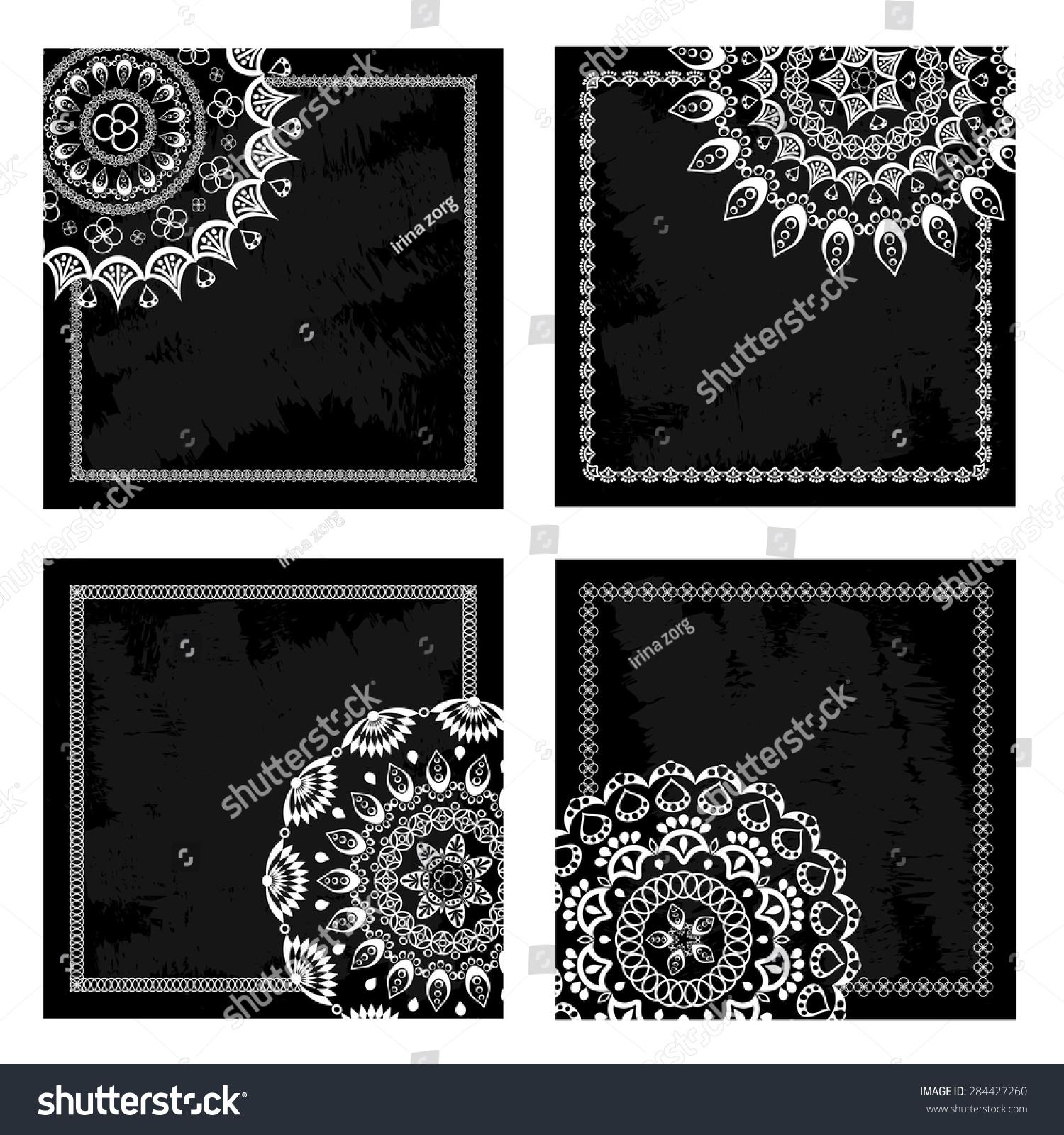 Set Black Blank Cards Vintage Decorative Stock Vector Royalty Free