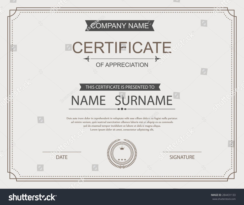 Vector certificate template stock vector 284431133 shutterstock for Vector certificate