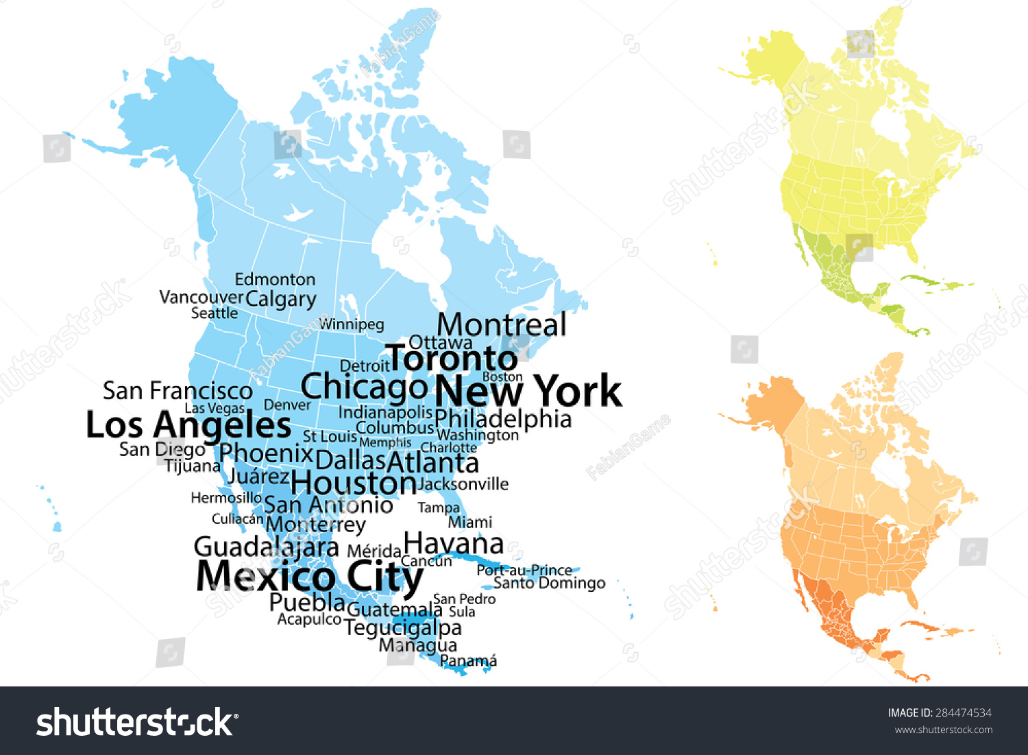 North america map largest cities carefully vectores en stock north america map with largest cities carefully scaled text by city population geographically correct gumiabroncs Image collections