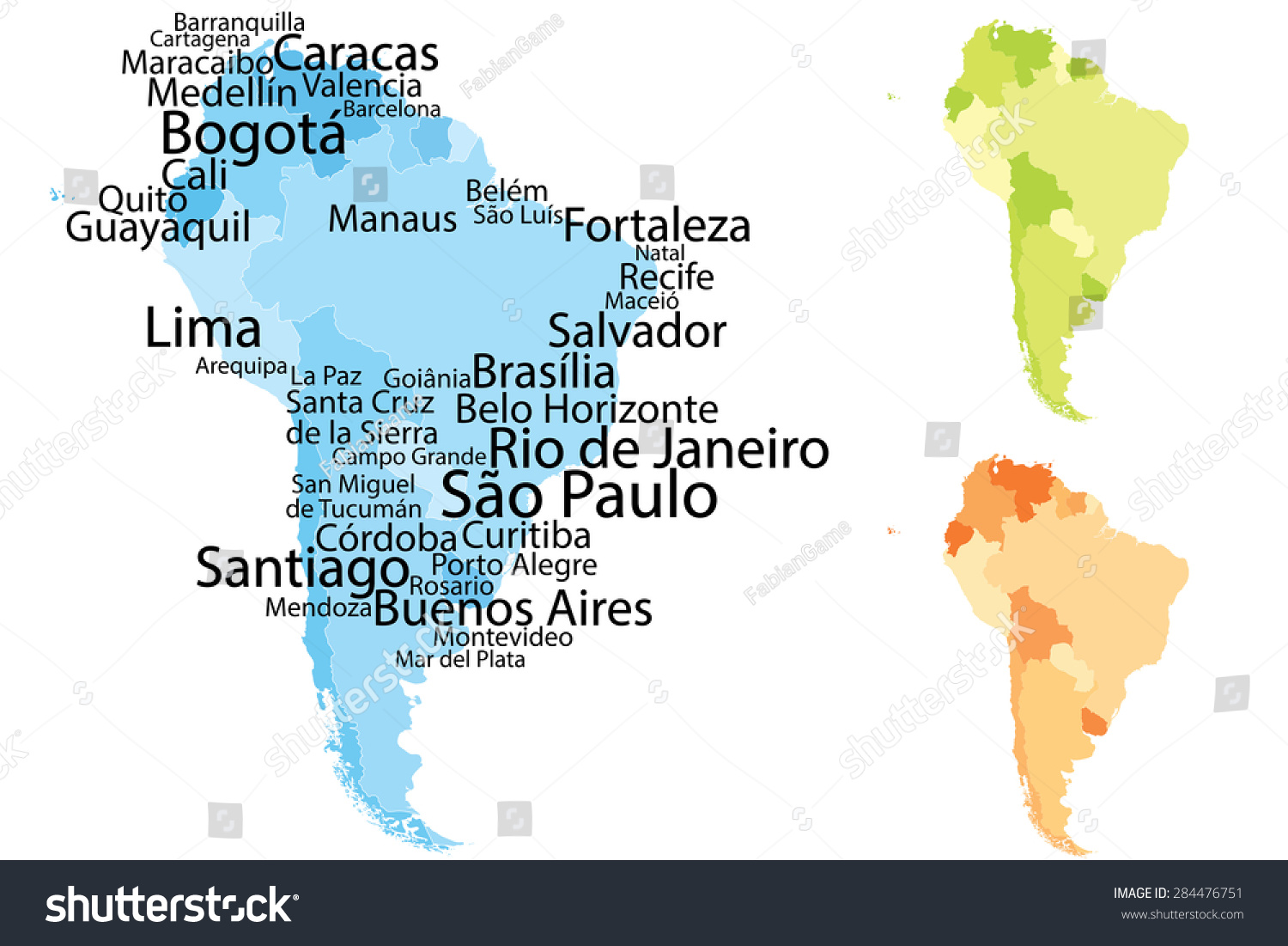 South America Map Largest Cities Carefully Stock Vector HD Royalty