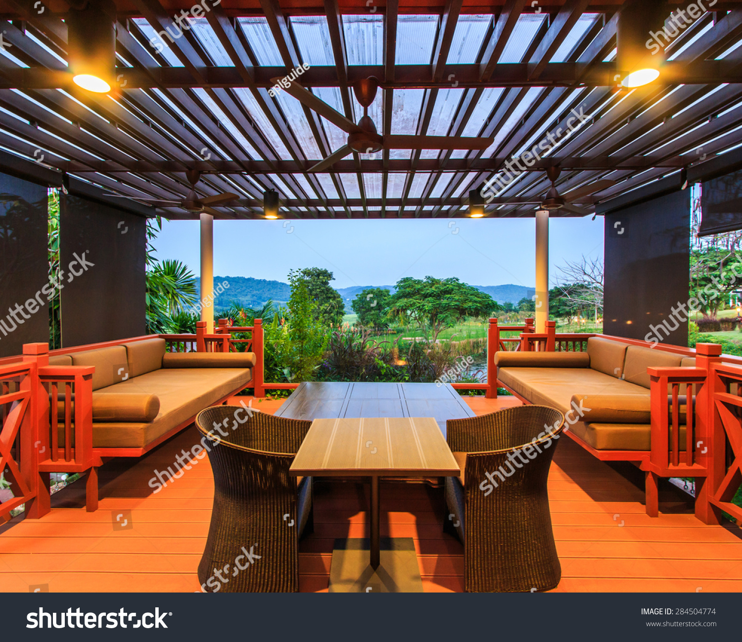 View beautiful modern terrace lounge stock photo 284504774 for Terrace lounge