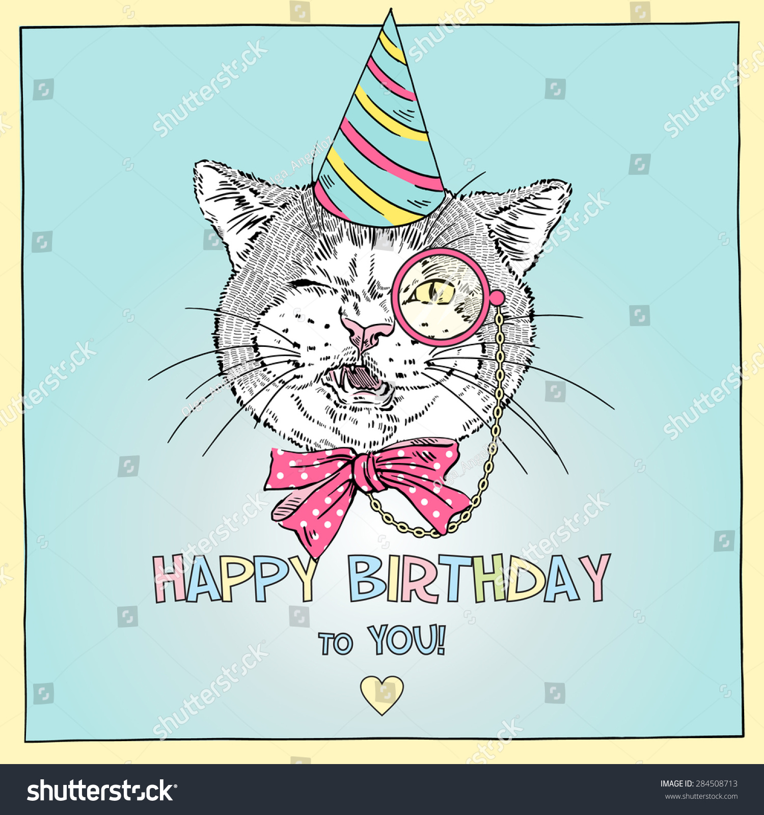 Hand Drawn Happy Birthday Card Cat Stock Vector