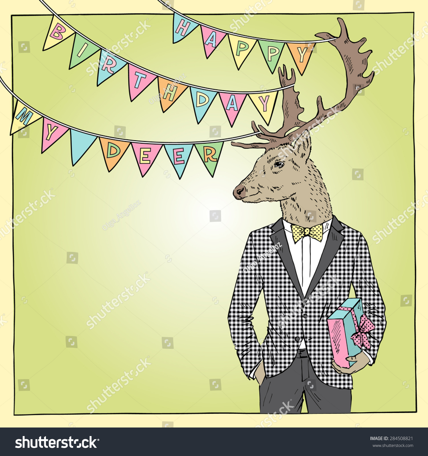 Vector bunting flags lovely celebration card with colorful paper - Hand Drawn Happy Birthday Card With Fashion Deer Boy Greeting Art Congratulatory Design