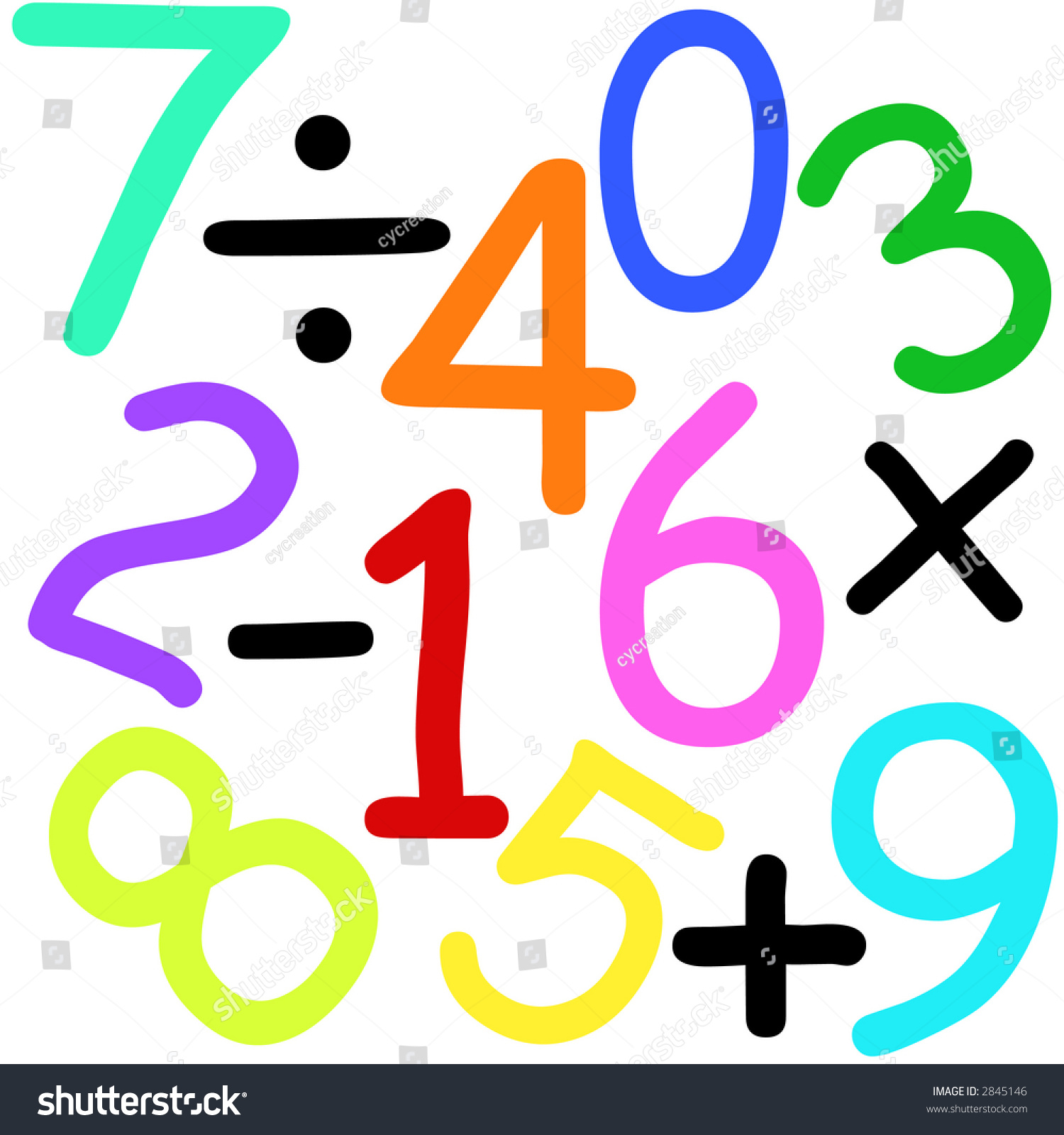 Colorful Numbers Maths Signs On White Stock Illustration 2845146