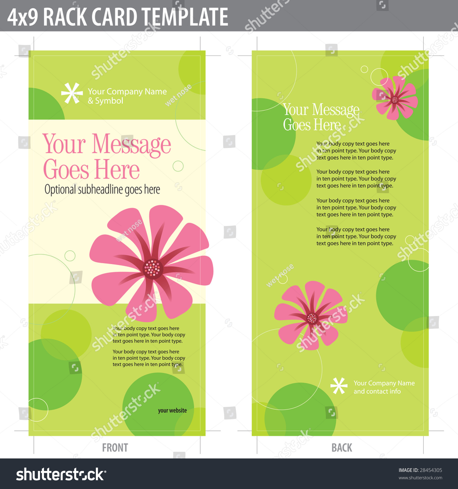 4x9 two sided rack card brochure includes crop marks for Double sided brochure template