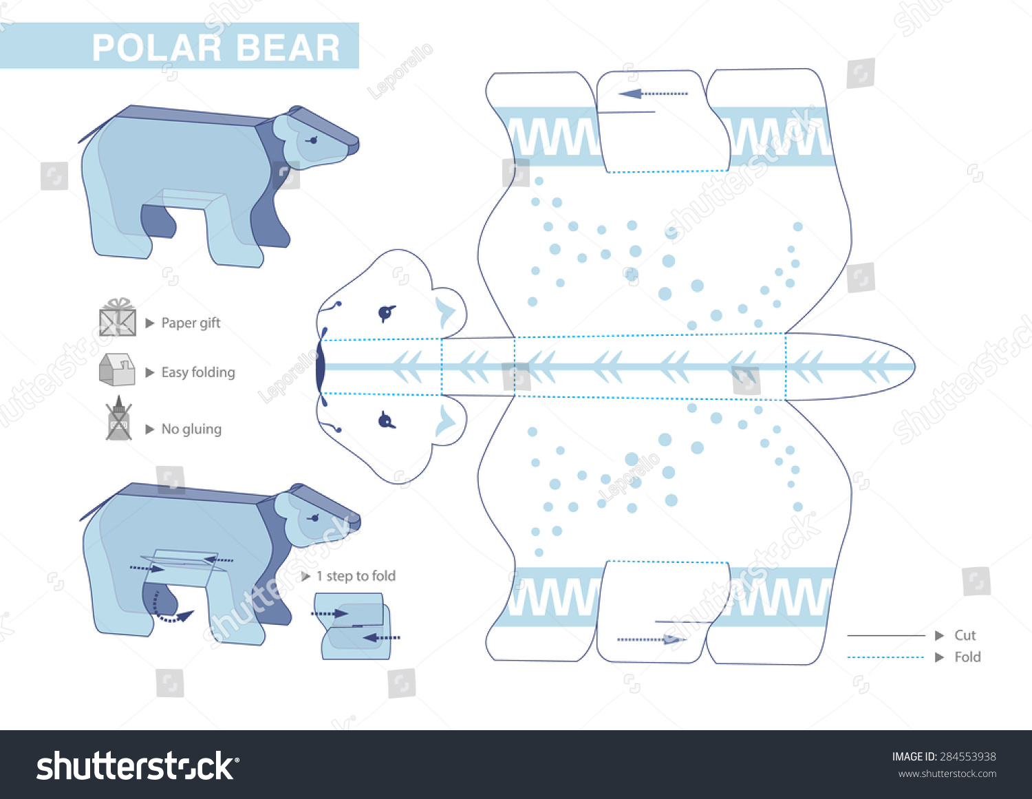 Polar Bear Paper Model Cut Outs For Children Small Home Craft Project Or