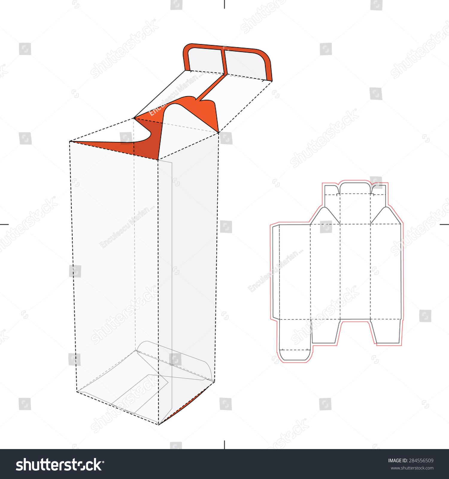 Tall Box with Bottom Auto Lock Die-cut Pattern