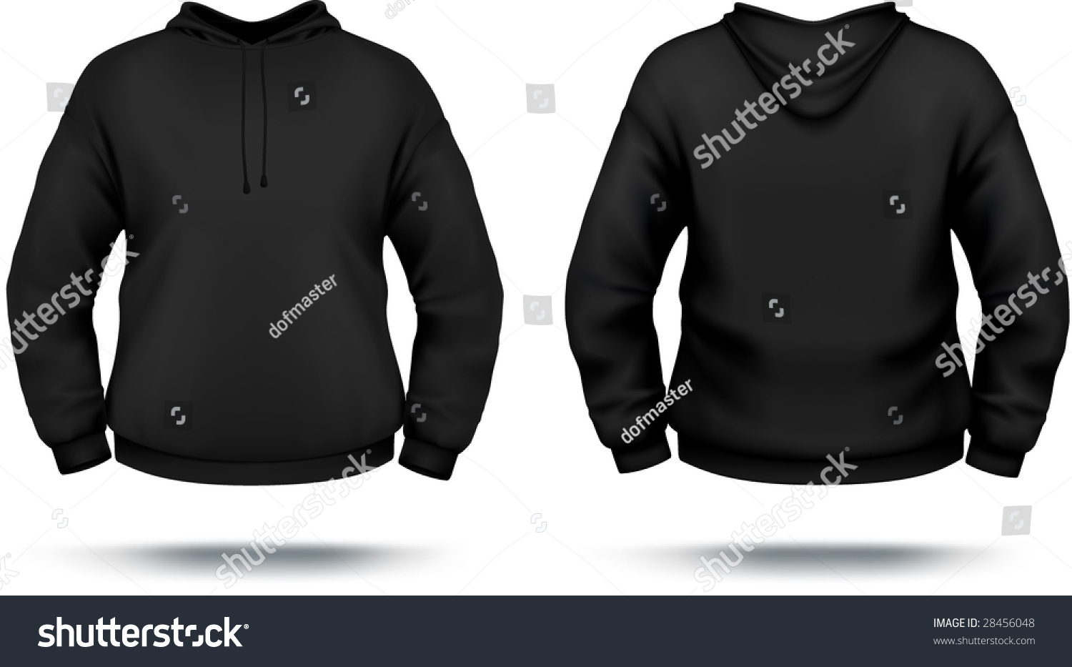 Black Hoodie Design Template Front Back Stock Vector 28456048 ...
