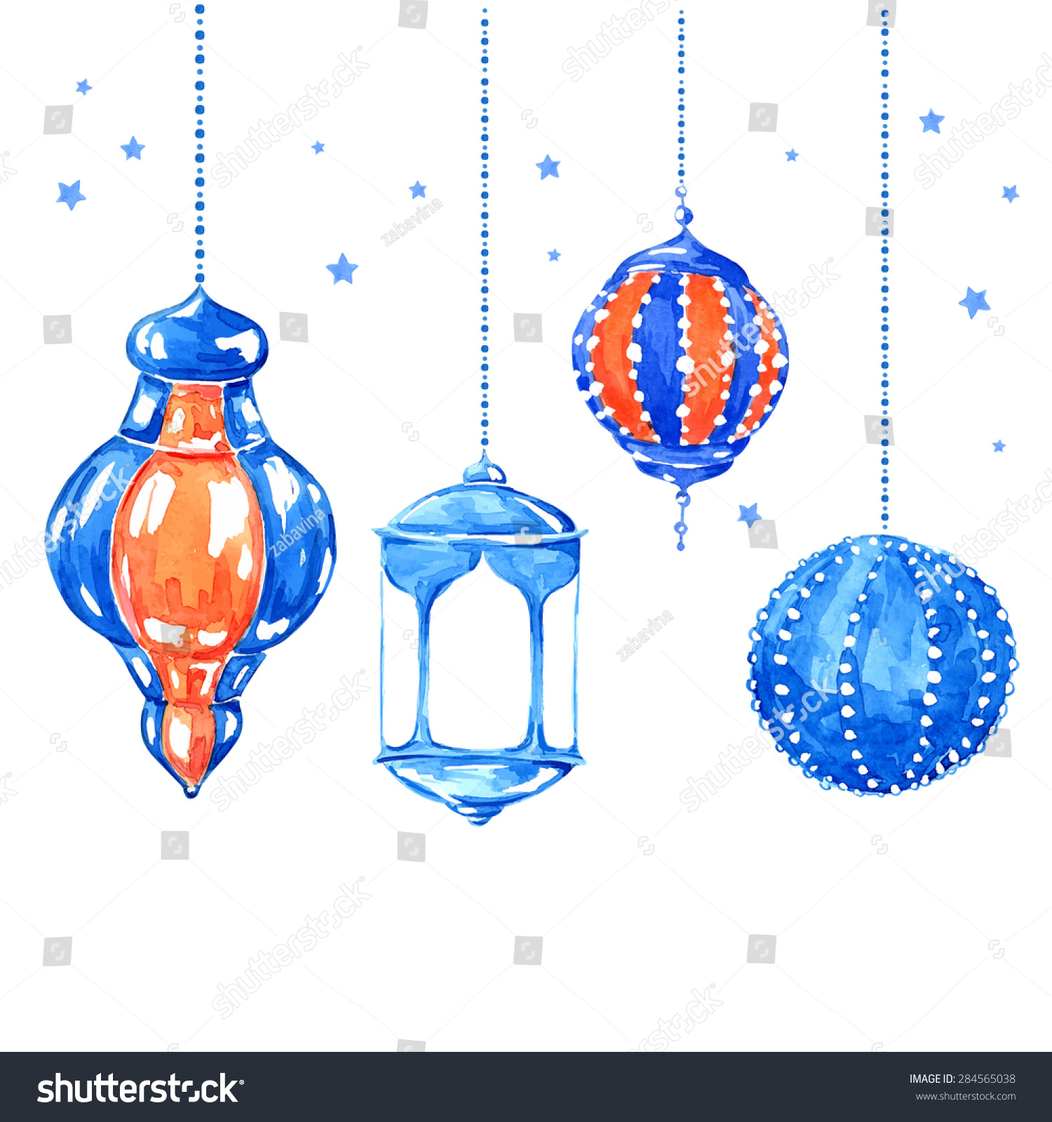 Hanging Lamp Vector: Ramadan Kareem Bright Watercolor Stains Background 스톡 벡터