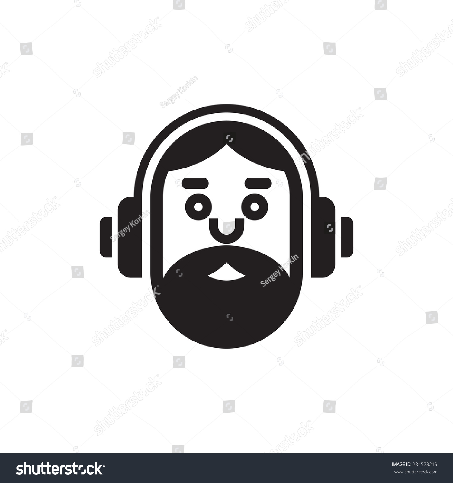 Music Lover Icon Hipster Man Logo Stock Vector (Royalty Free ...