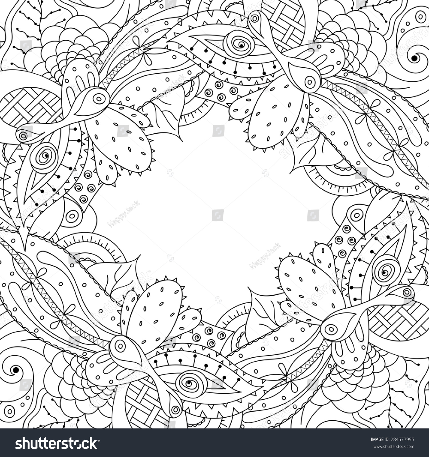 Hand Drawn Doodle Frame With Place For Text Abstract Zentangle Background Cactus