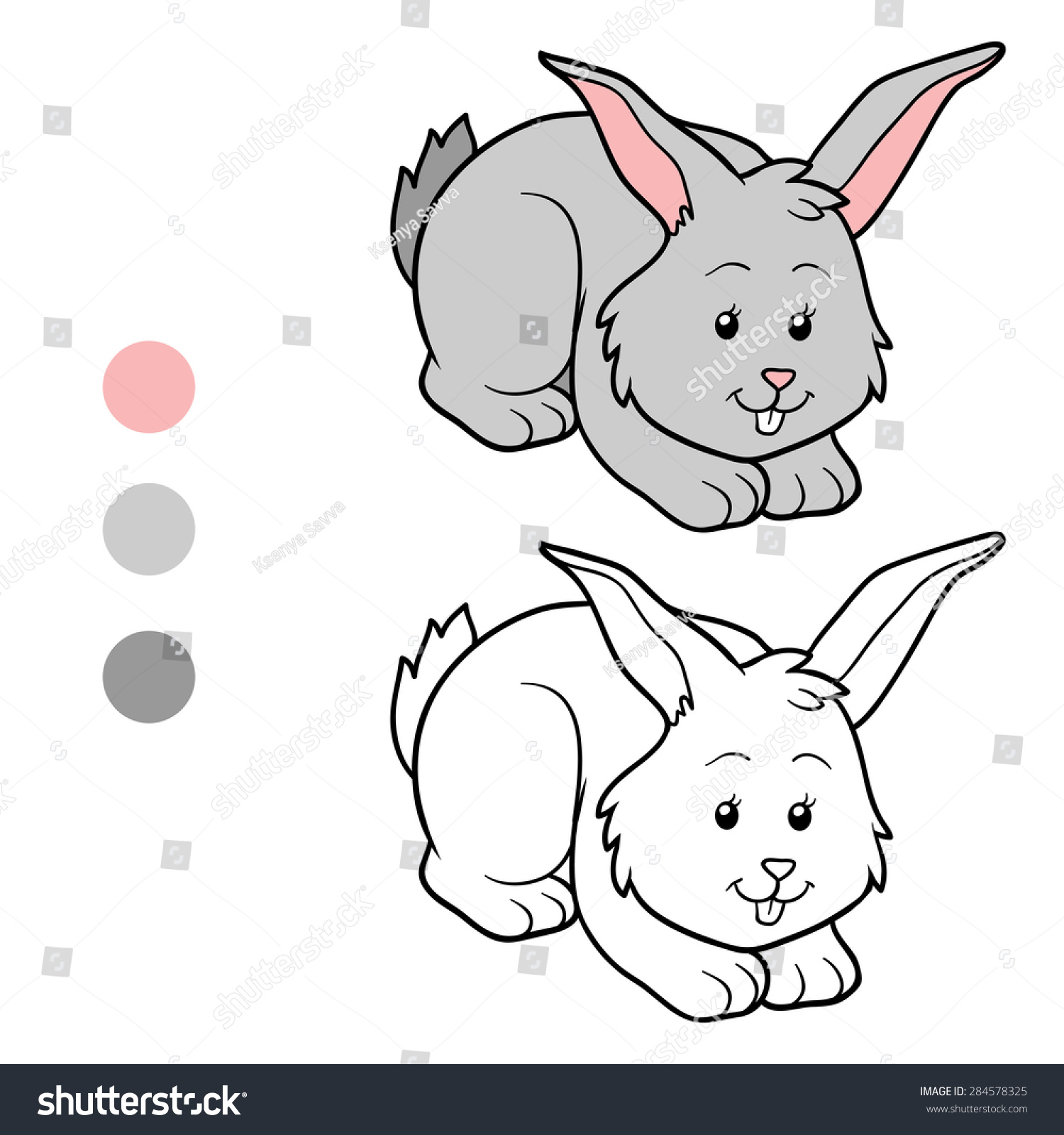 Coloring by numbers for rabbits - Coloring Book Rabbit