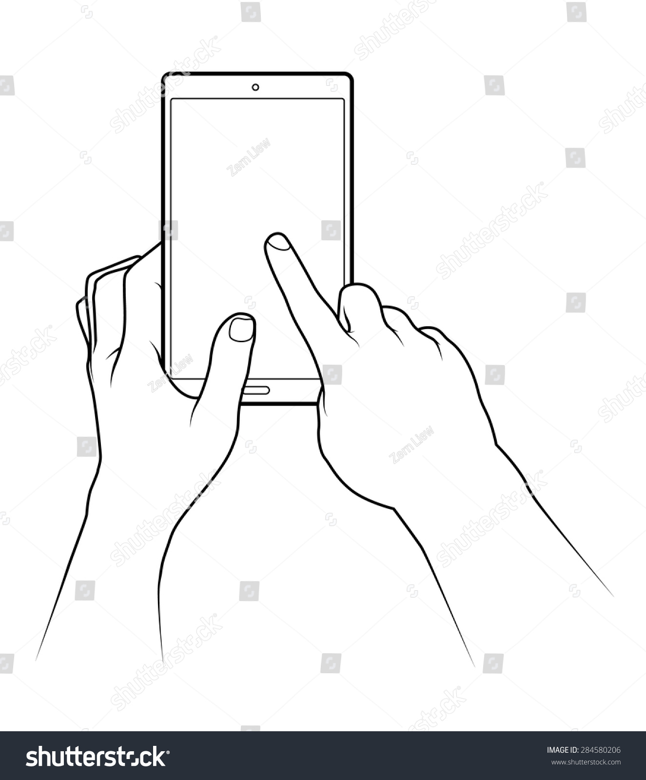 Drawing Smooth Lines In Photo With Tablet : Line drawing pair human male hands stock vector