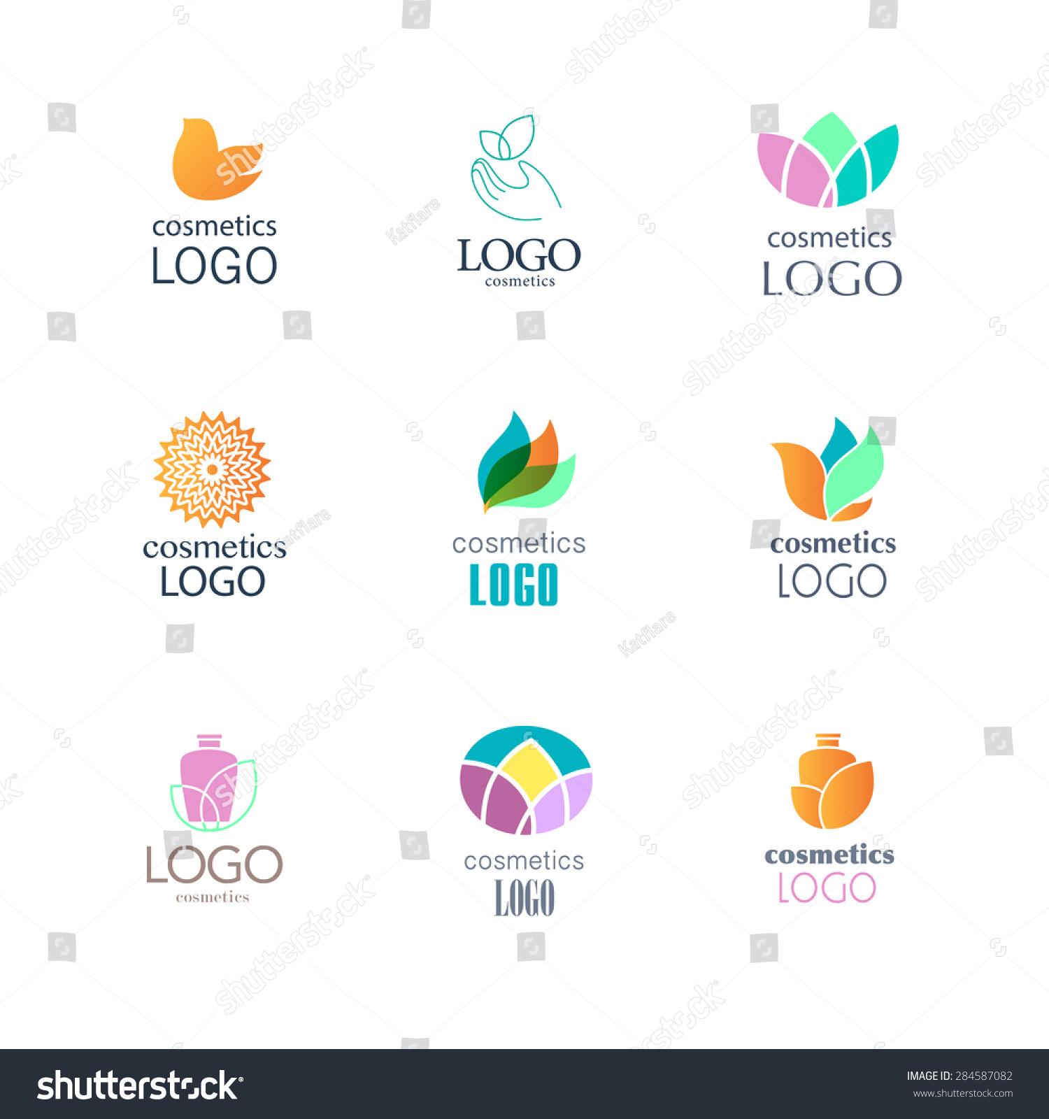 Set Beauty Industry Fashion Logo Beauty Stock Vector