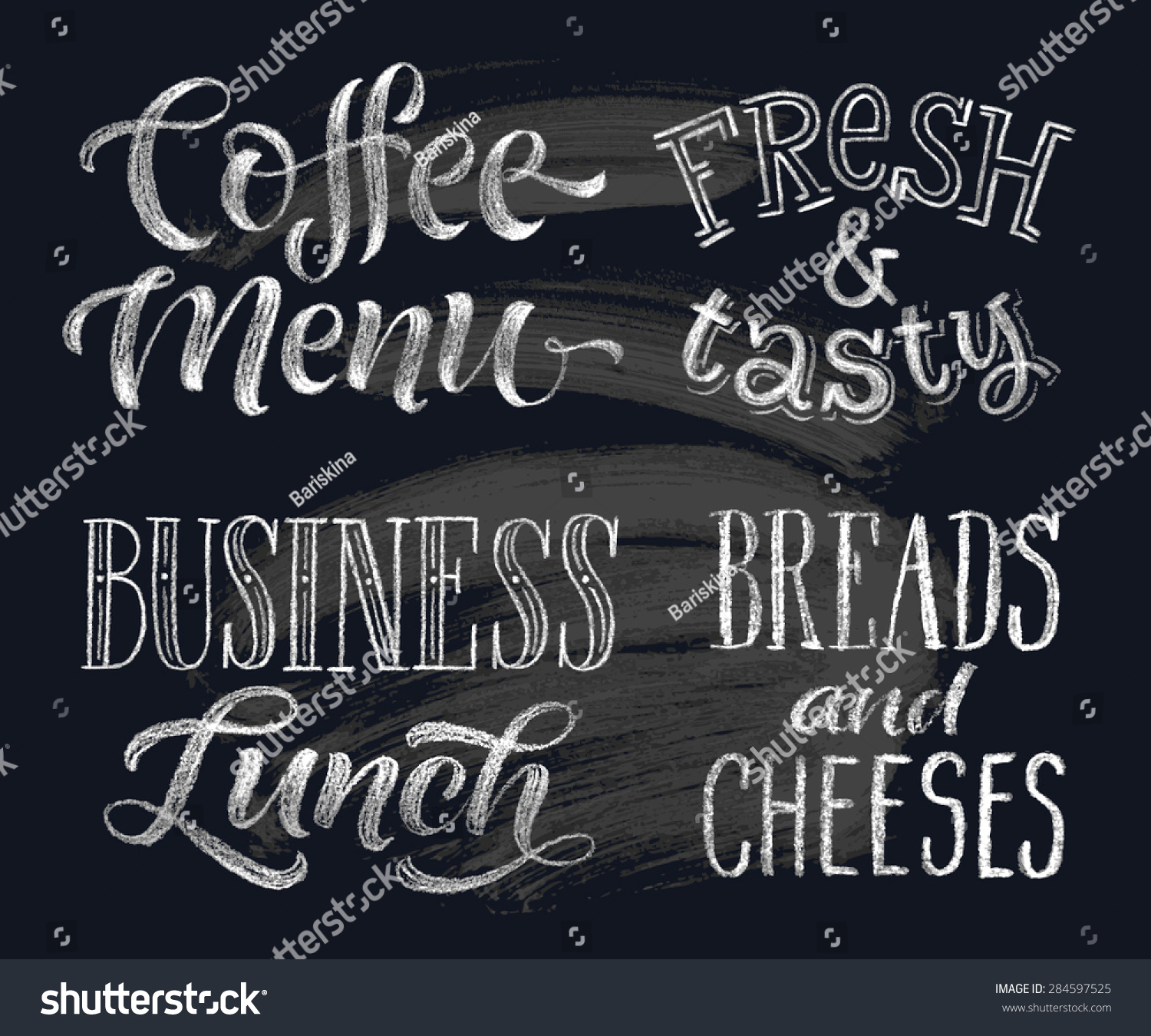 Vector Illustration With Hand Drawn Lettering Coffee Menu Freshtasty Business Lunch Breads And Cheeses Calligraphic Typographic Elements On Chalk