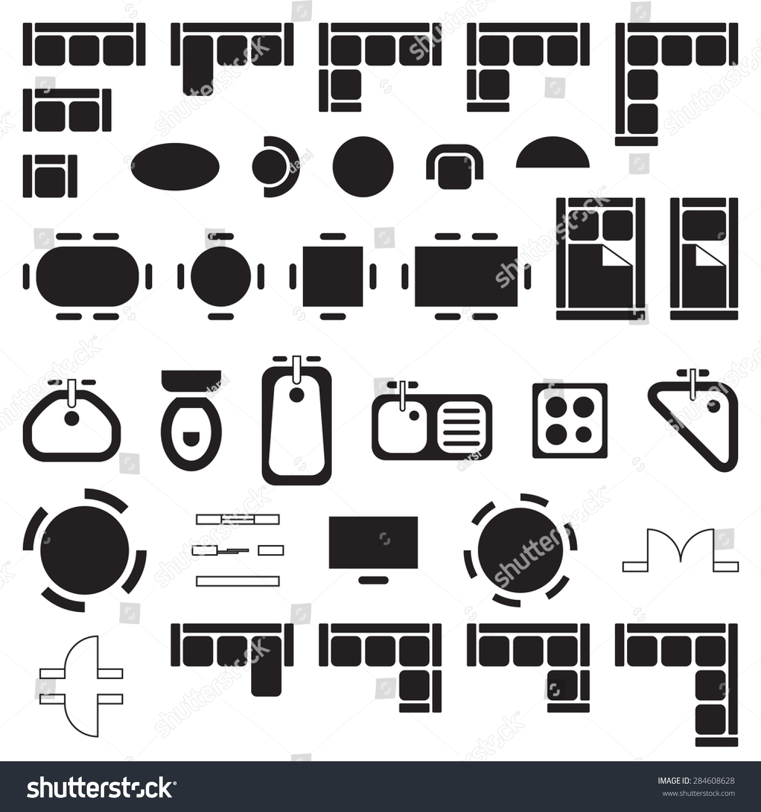 Standard Furniture Symbols Used Architecture Plans Stock