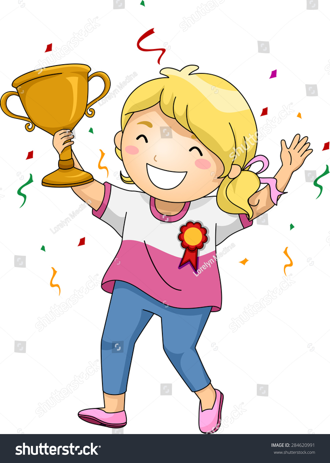 illustration of an overjoyed girl celebrating her victory free clipart trophy cup free clipart trophy award