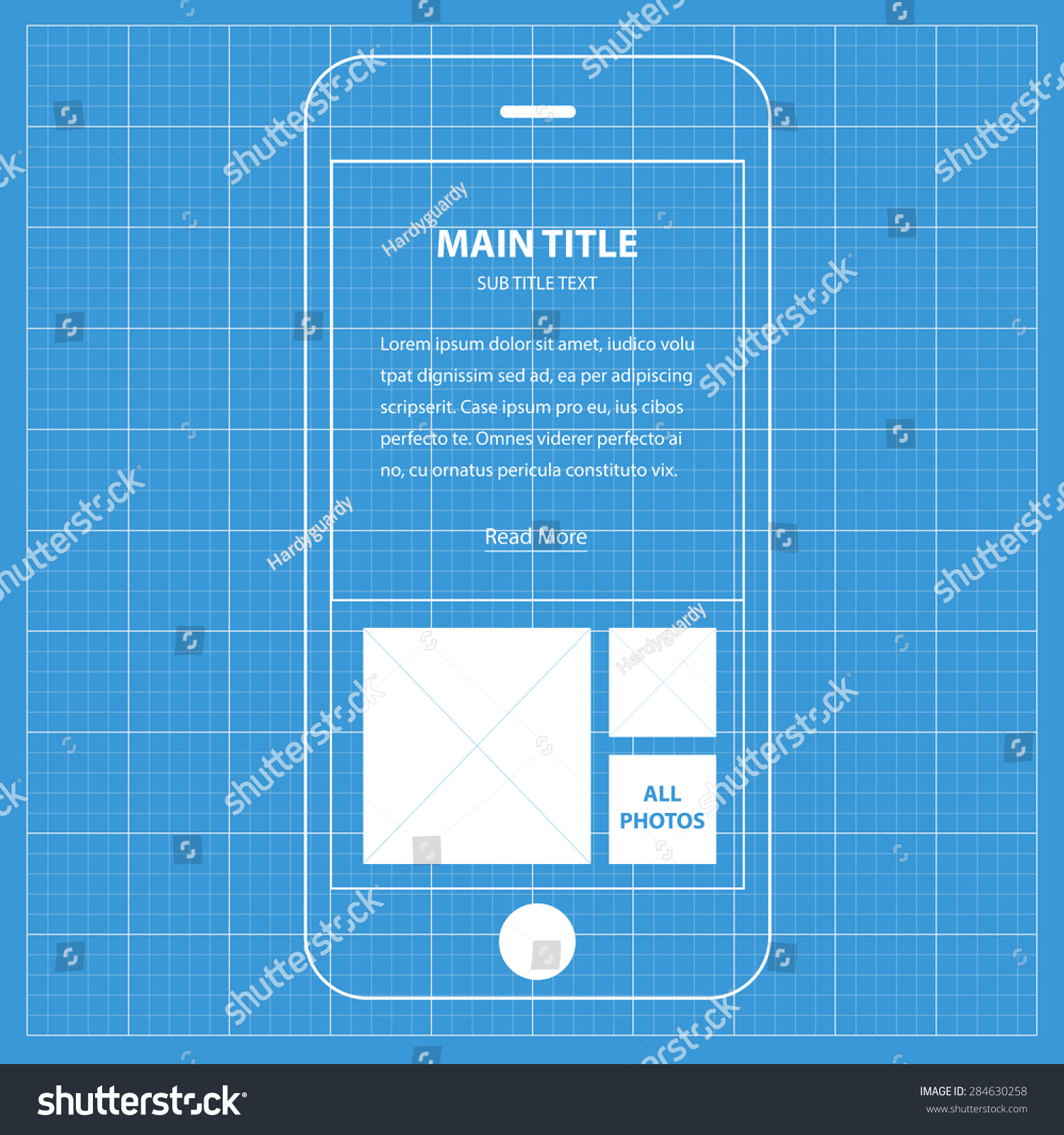 Wireframe blueprint mobile app ui kit stock photo photo vector wireframe blueprint mobile app ui kit about with text info screen malvernweather Choice Image