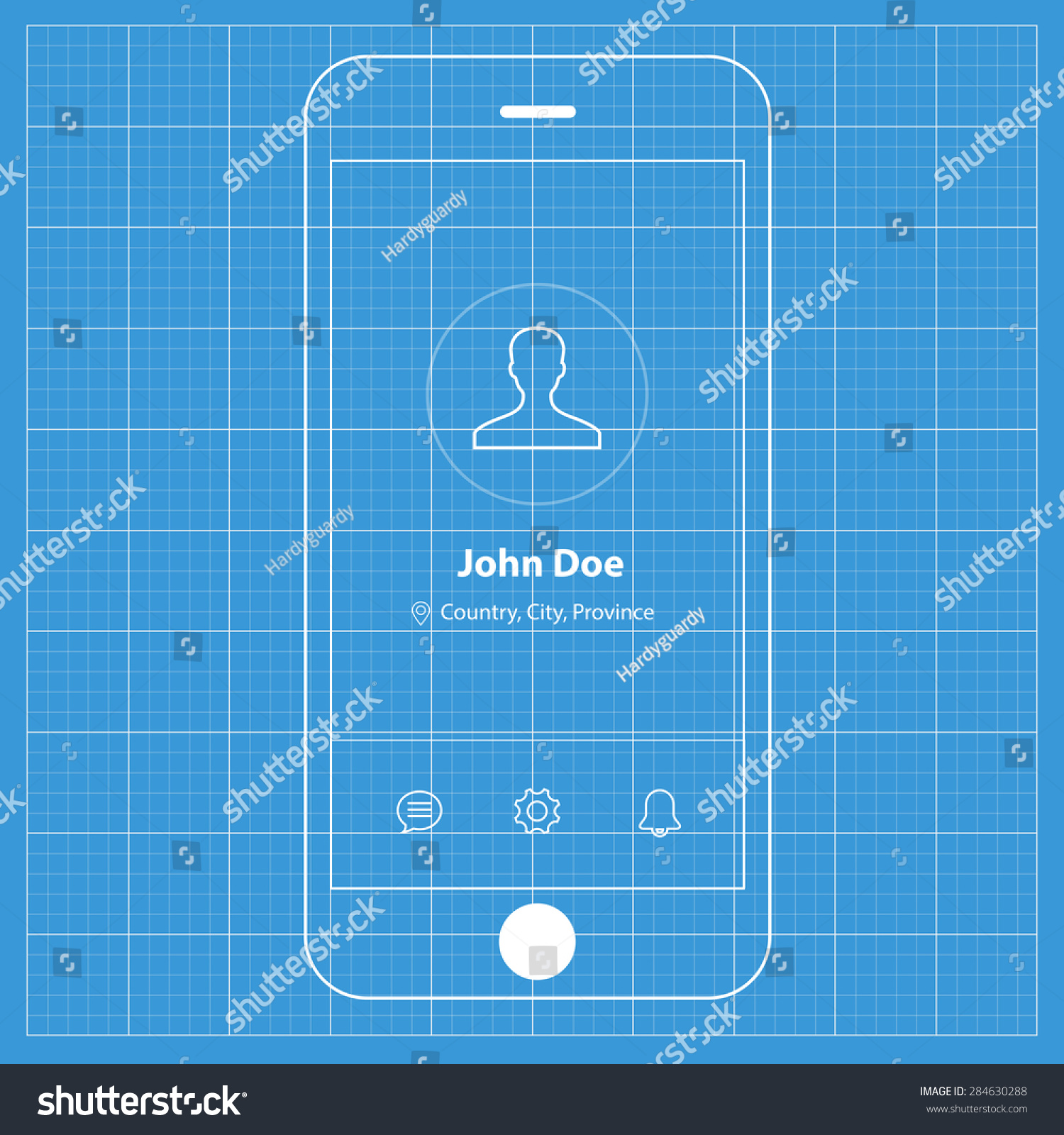 Wireframe blueprint mobile app ui kit stock vector 284630288 wireframe blueprint mobile app ui kit profile screen malvernweather Image collections