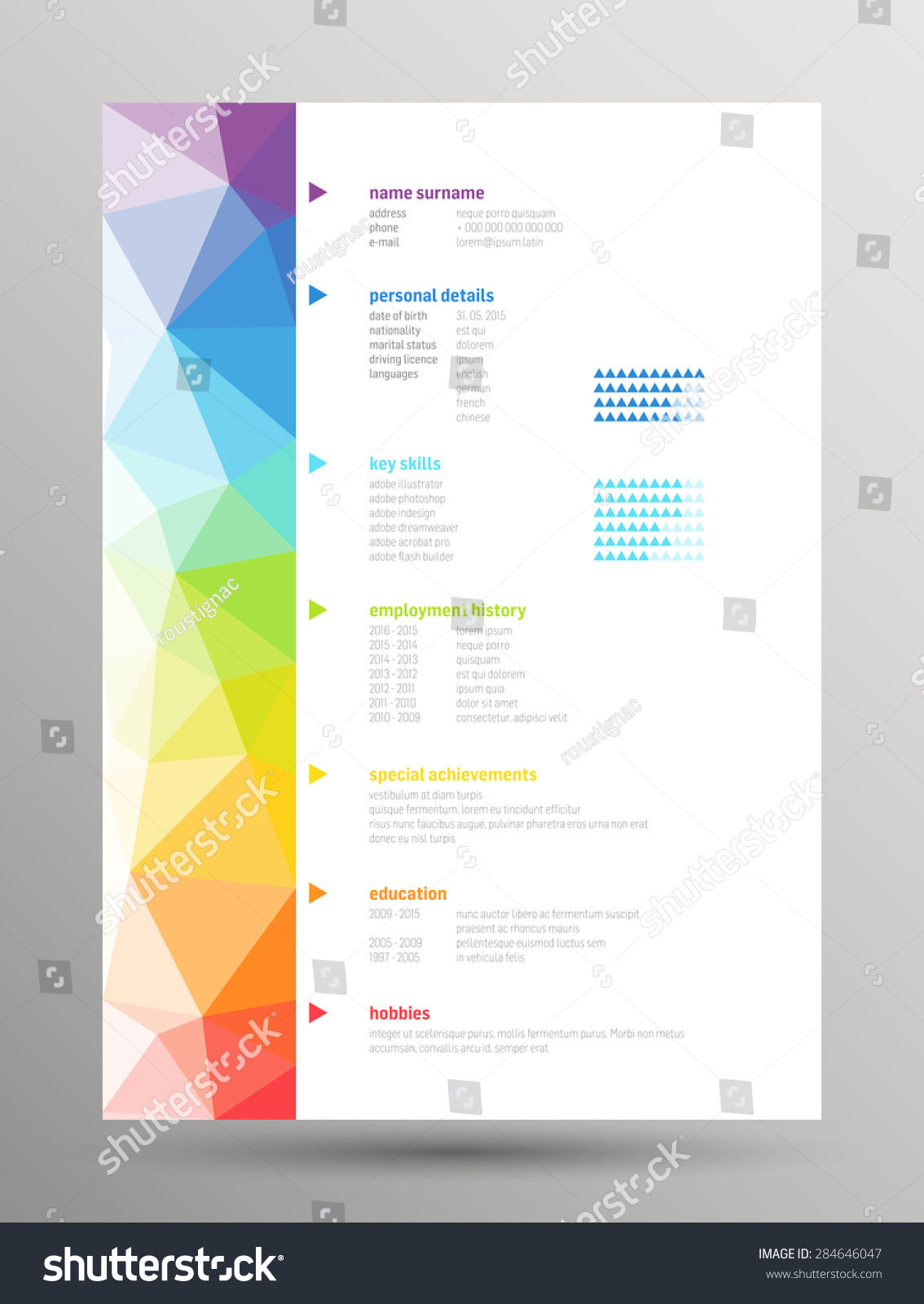 Resume Curriculum Vitae Low Poly Rainbow Vector de stock (libre de ...