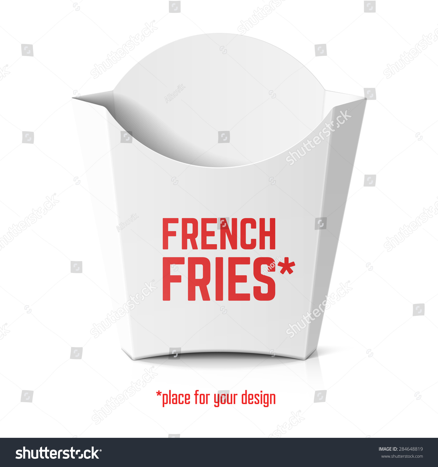 French fries white paper box template stock vector for French fries packaging template