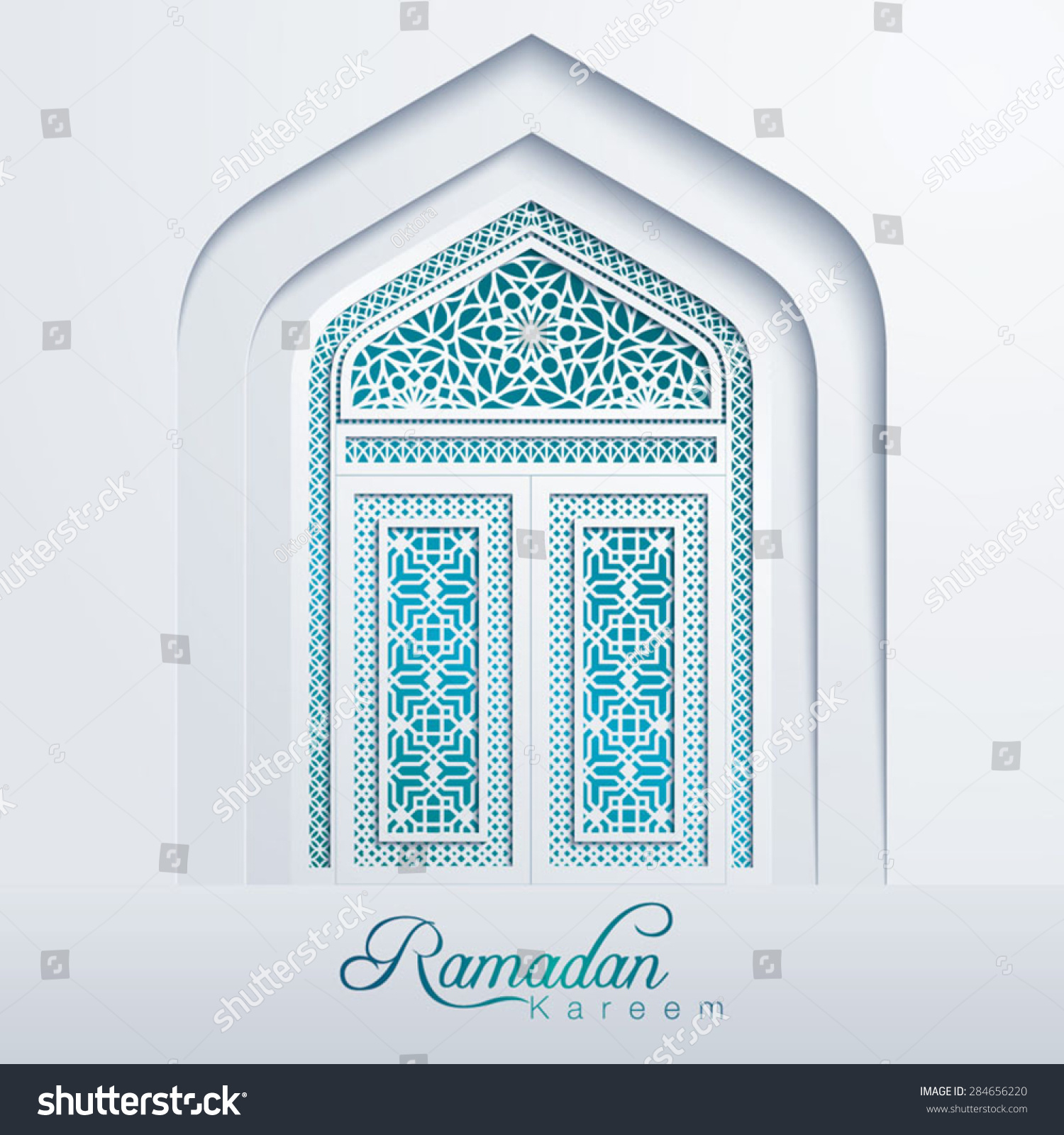 Ramadan Kareem White Mosque Door Geometric Pattern #284656220