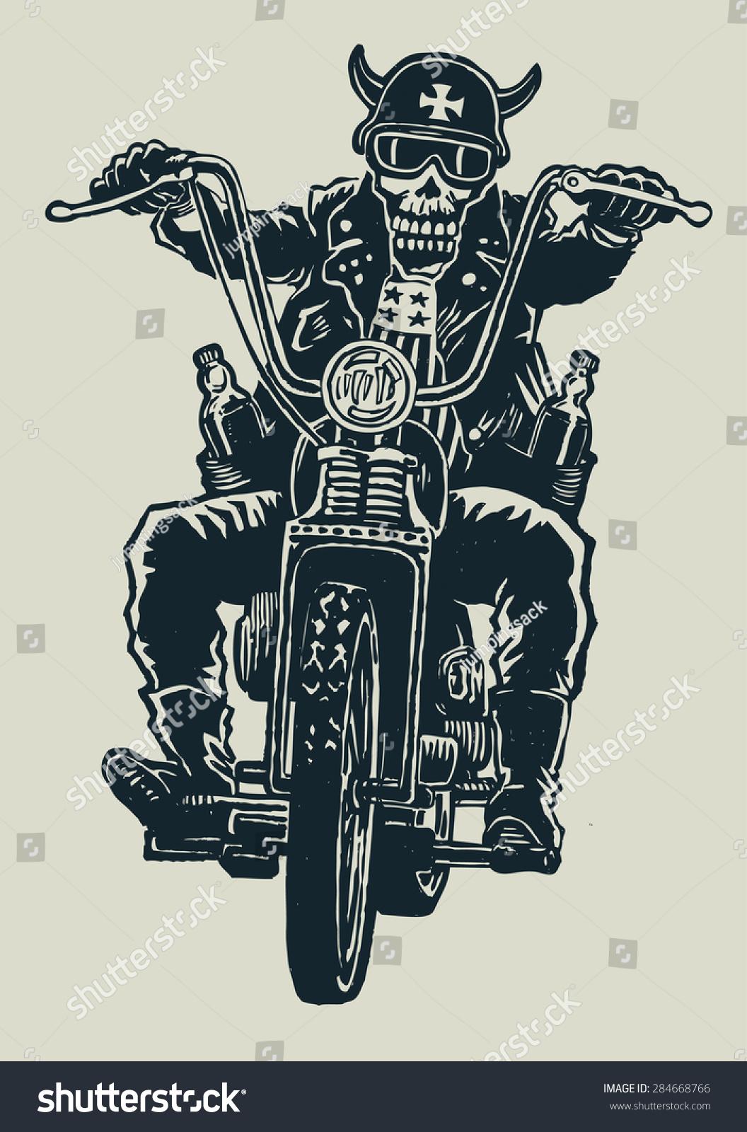 Crazy biker skull motorcycle glasses helmet stock vector 284668766 crazy biker skull in motorcycle glasses helmet with horns biker symbol engraving style biocorpaavc