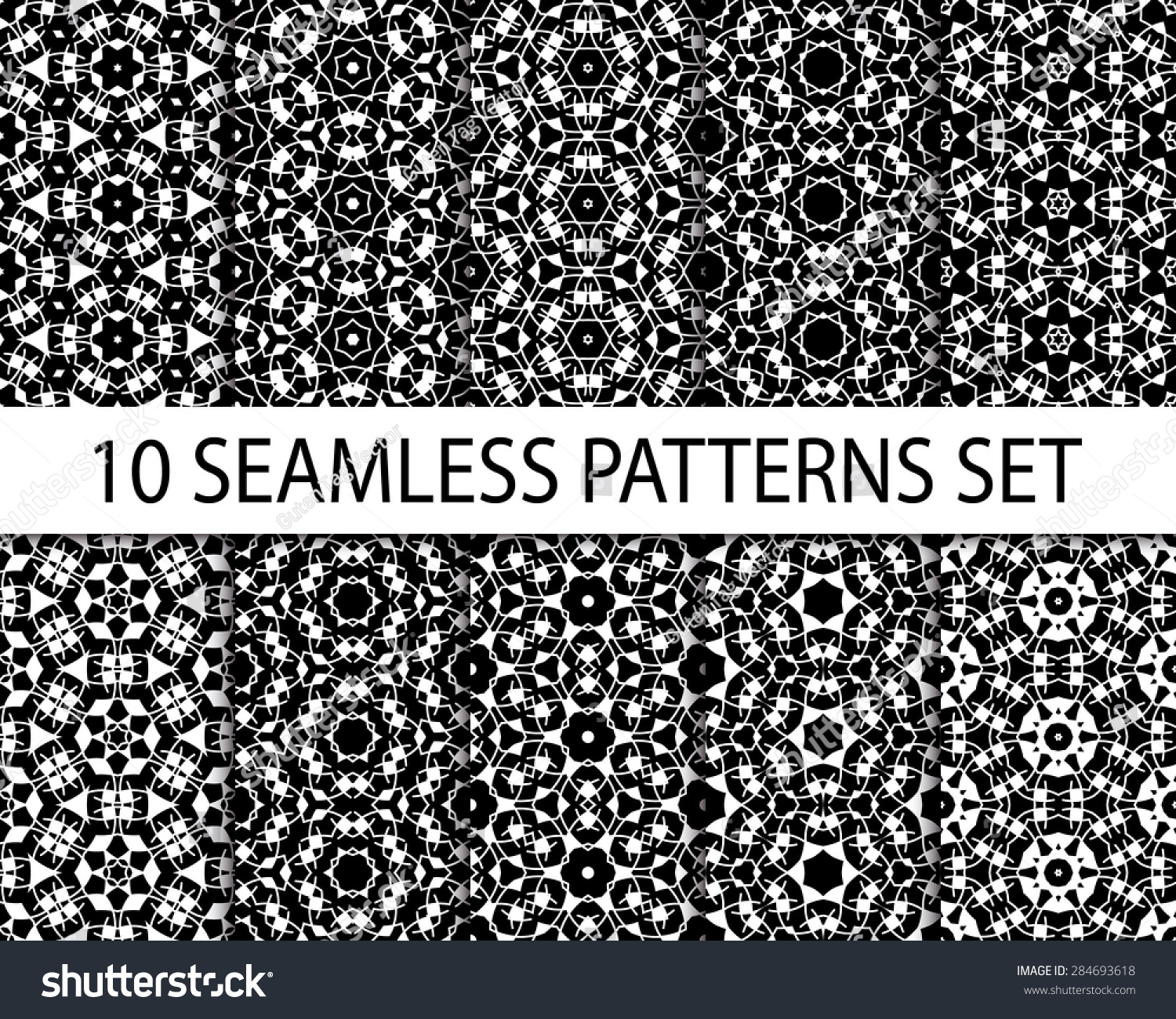 Set Of Geometric Seamless Patterns Ten Excellent Exotic Ornaments With